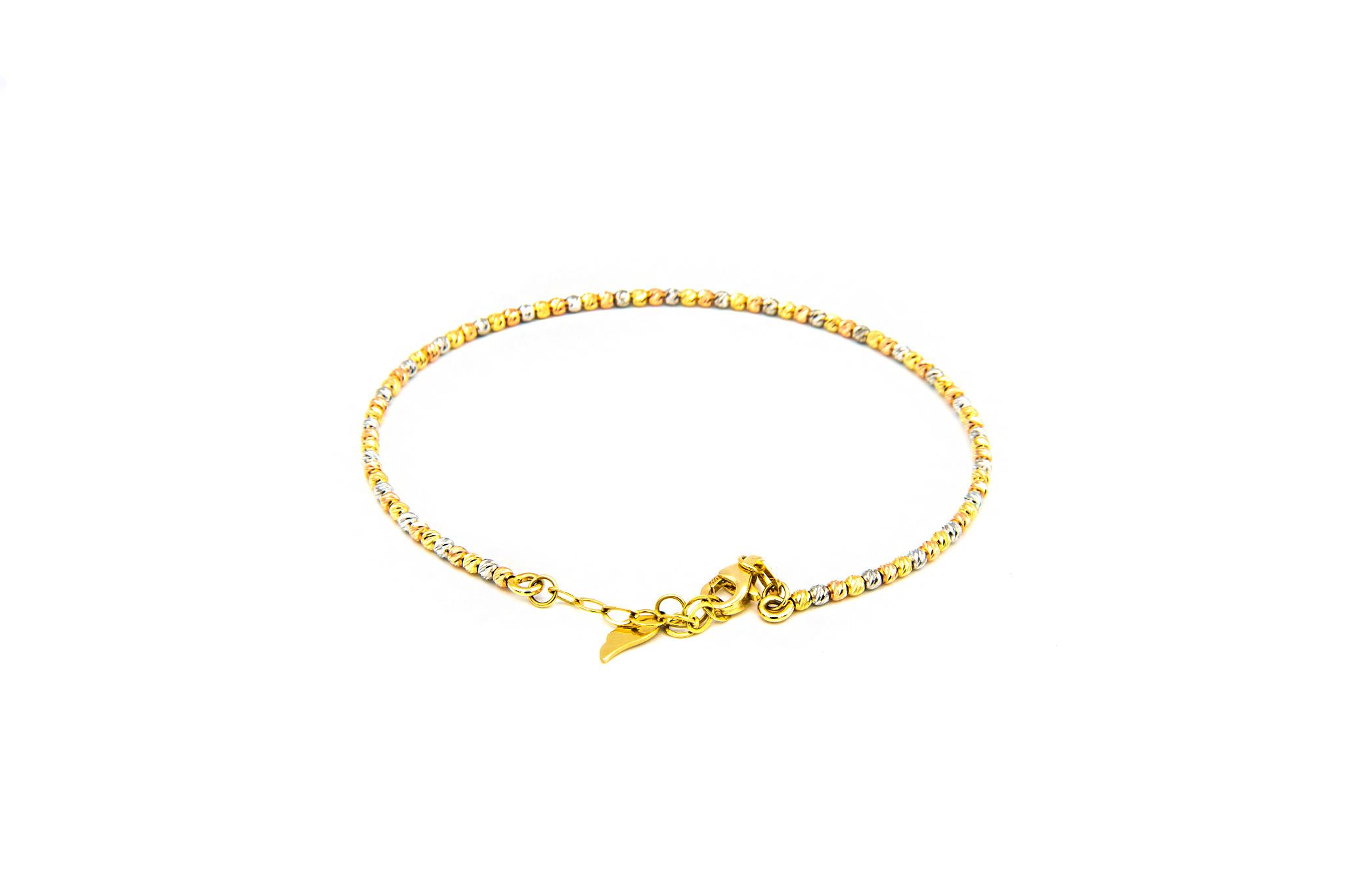 Armband vast diamond cut balletjes tricolor-3