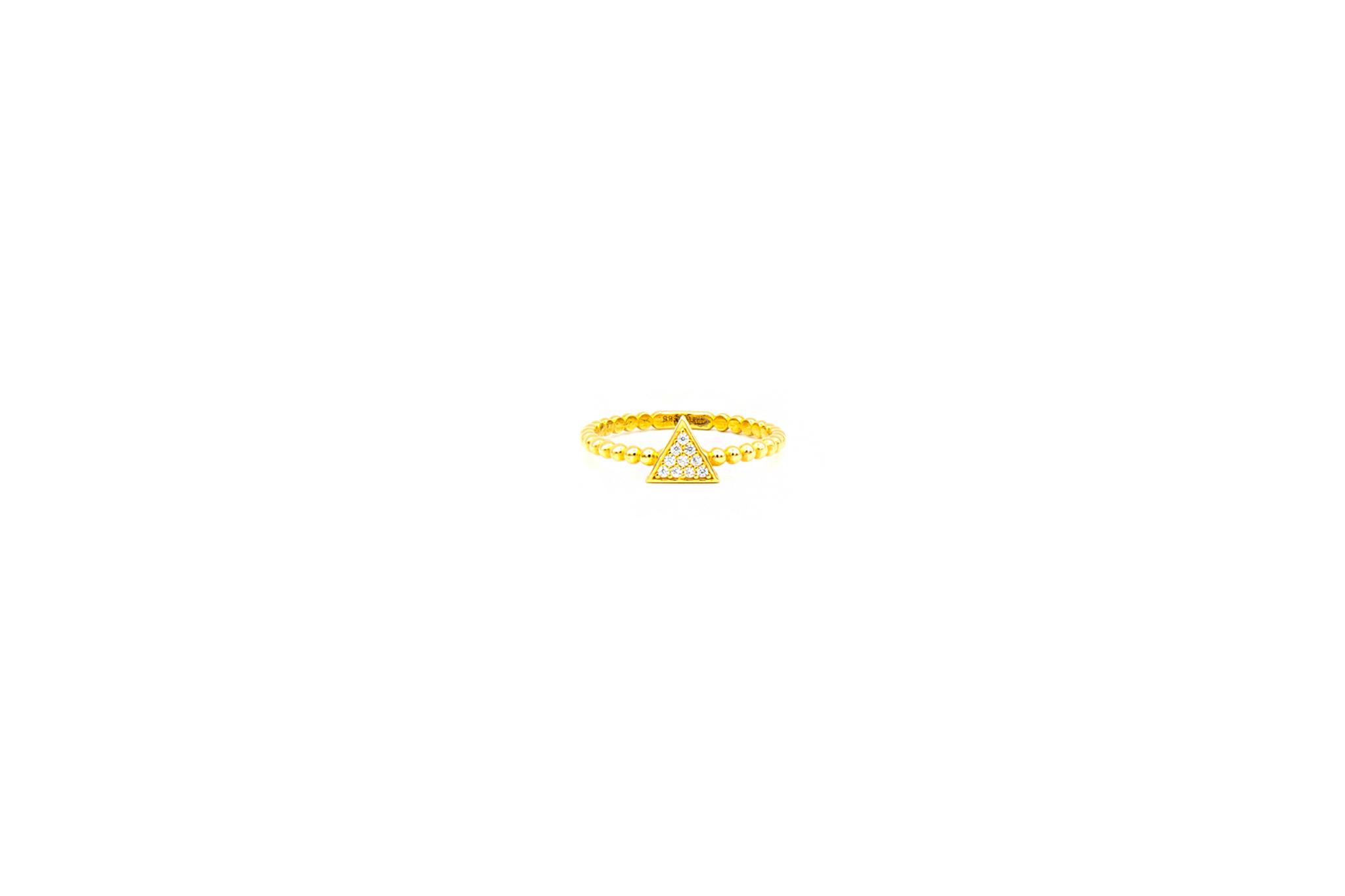 Ring aanschuif driehoek bezet met zirkonia's-1