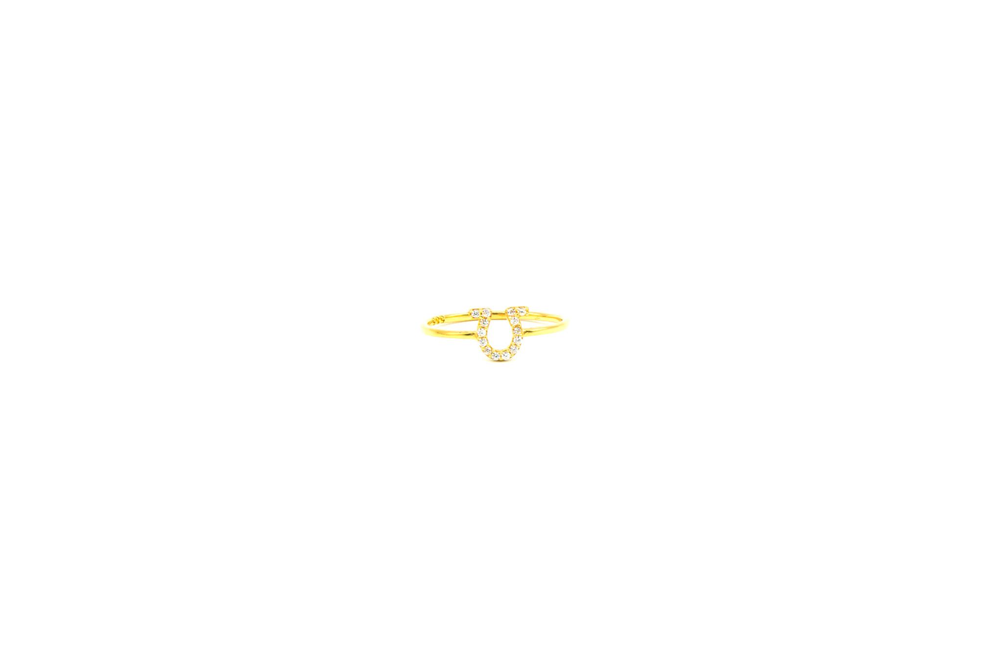 Ring Griekse omega alphabet bezet met zirkonia's-1
