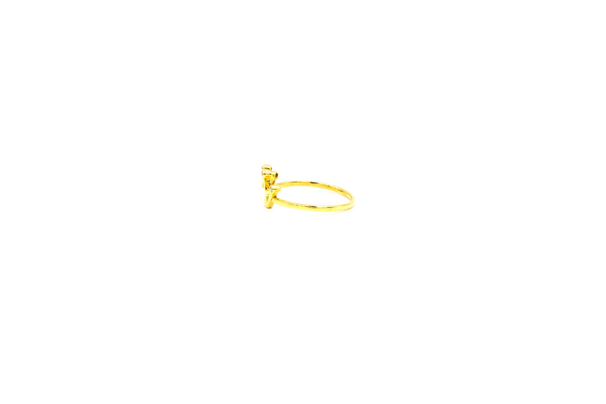Ring open kroon bezet met 4 zirkonia's-3