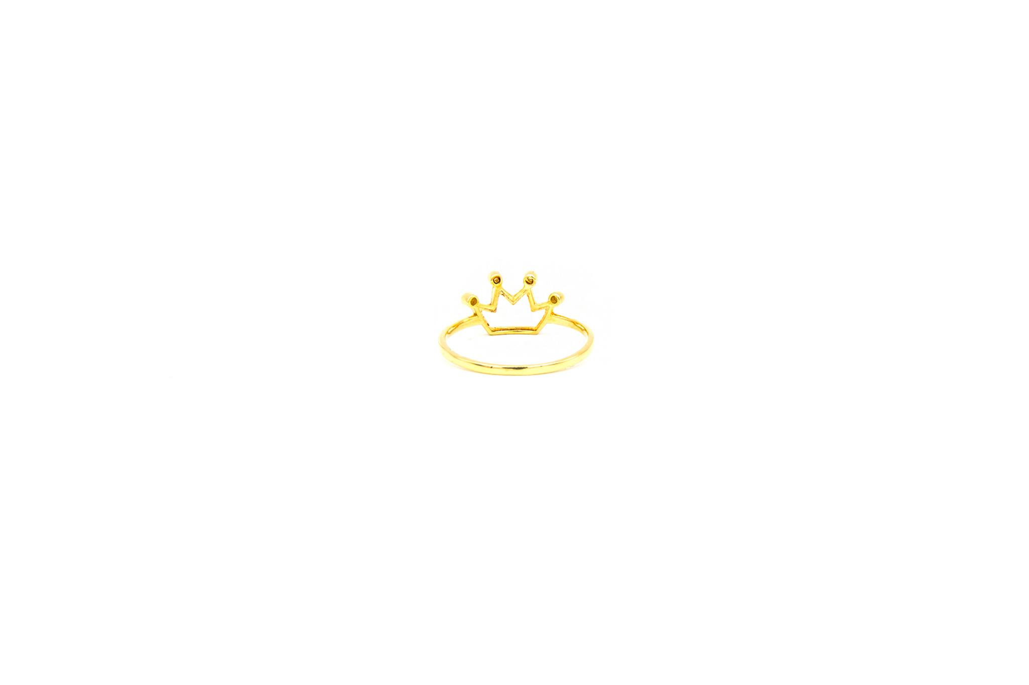 Ring open kroon bezet met 4 zirkonia's-4