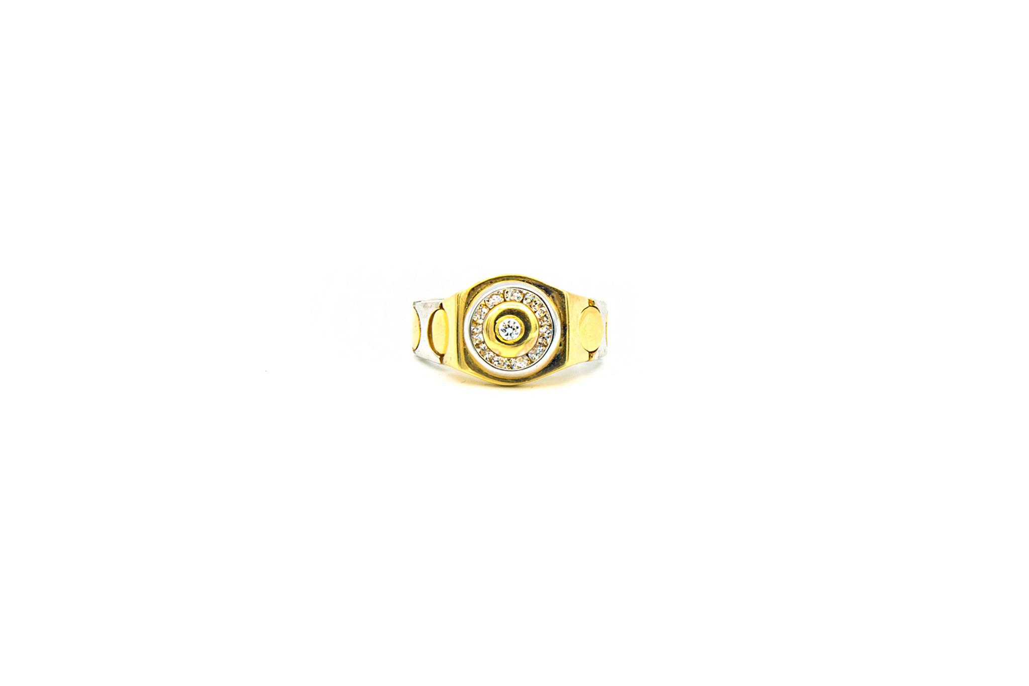 Ring zegel flexibel bezet met zirkonia, bicolor-1