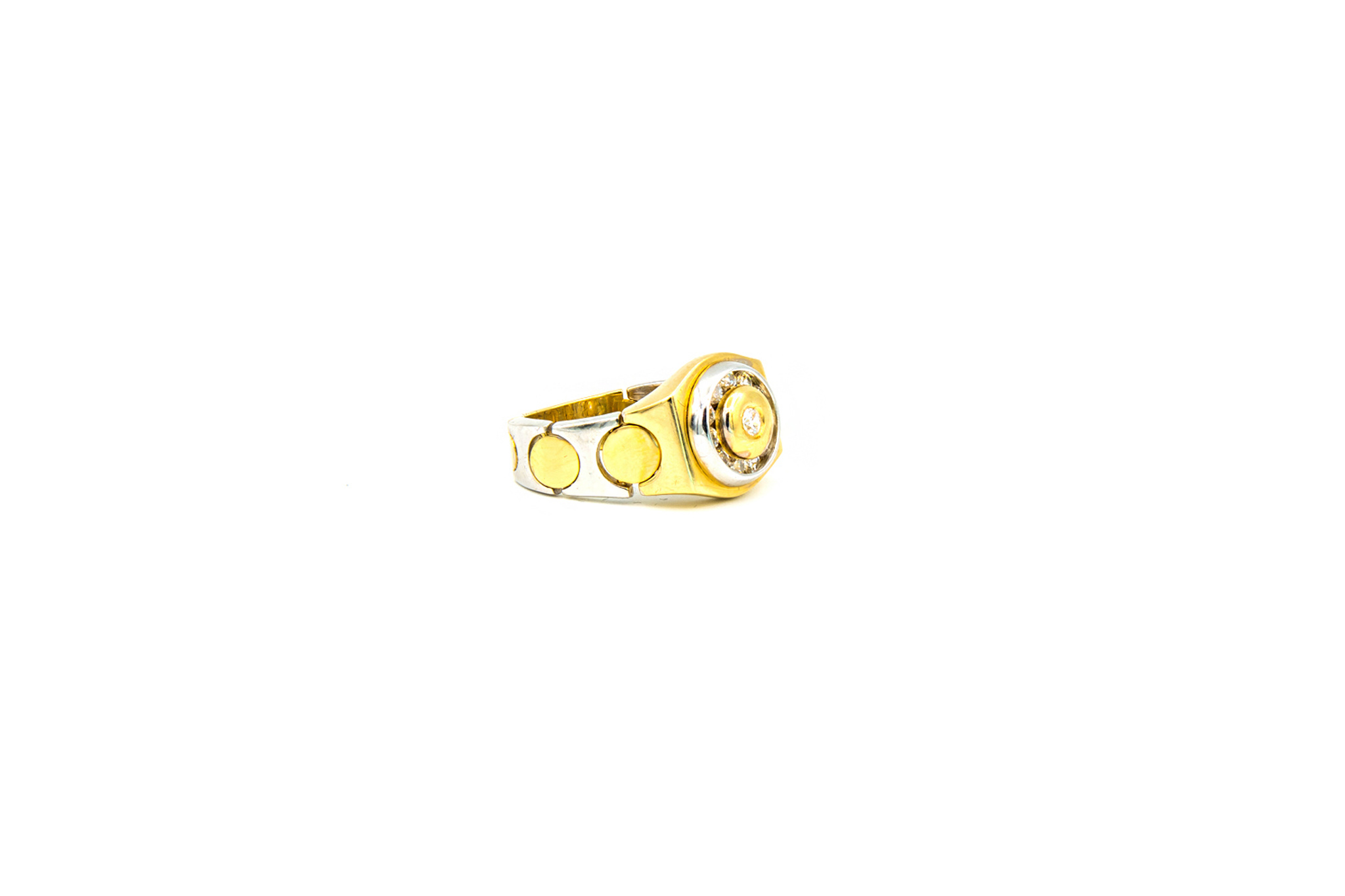 Ring zegel flexibel bezet met zirkonia, bicolor-2