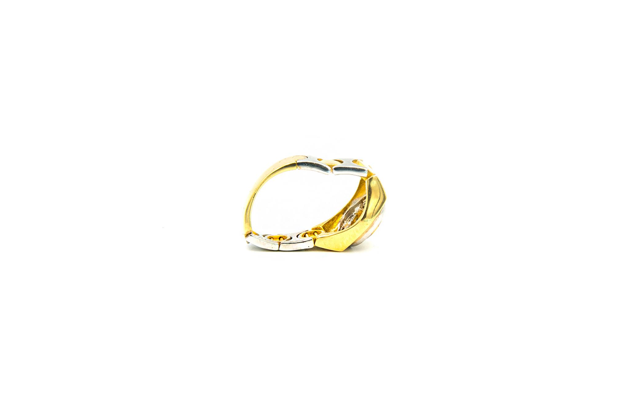 Ring zegel flexibel bezet met zirkonia, bicolor-5