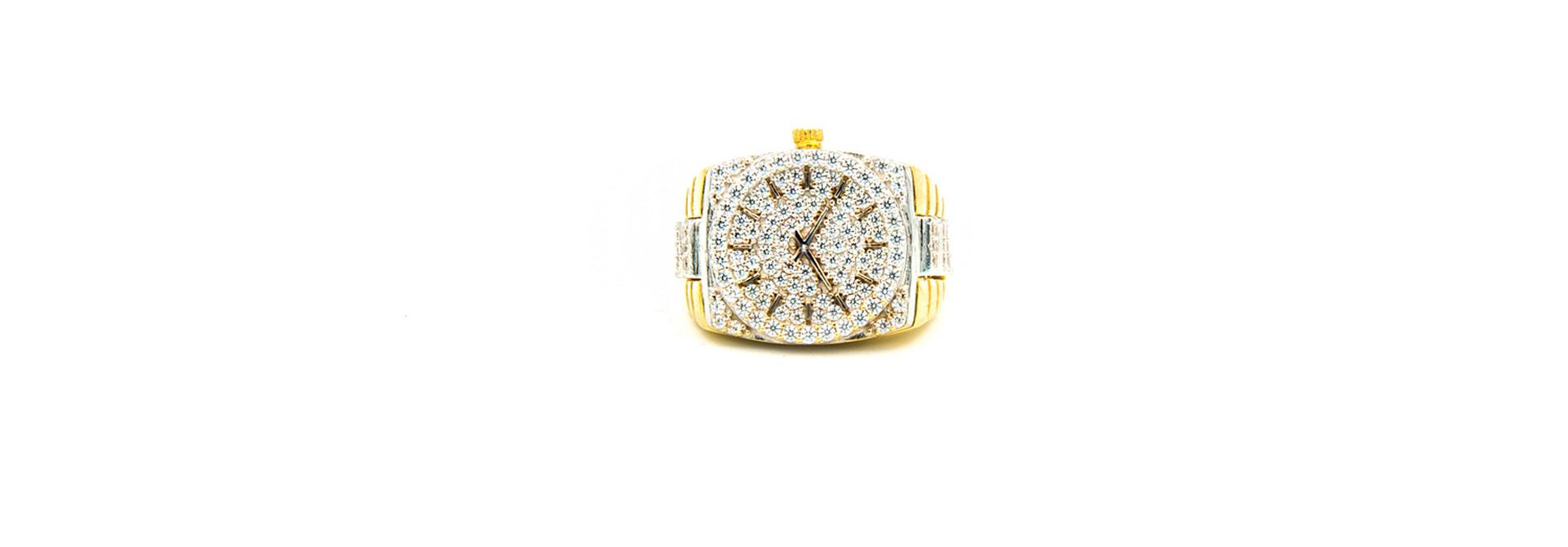 Ring horloge bezet met zirkonia's, bicolor