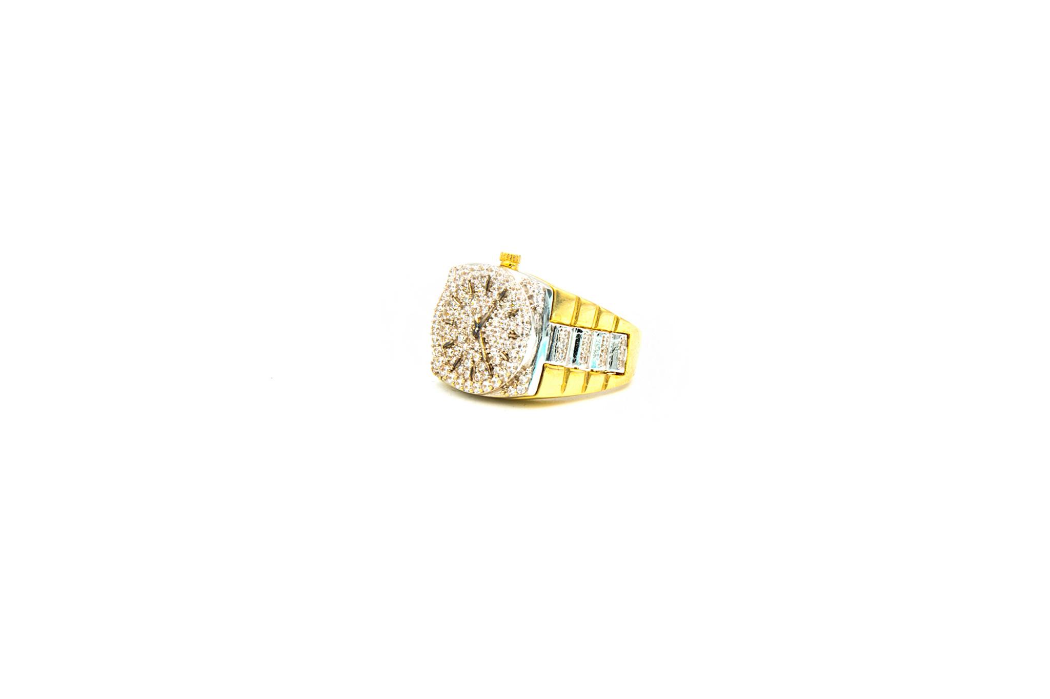 Ring horloge bezet met zirkonia's, bicolor-2