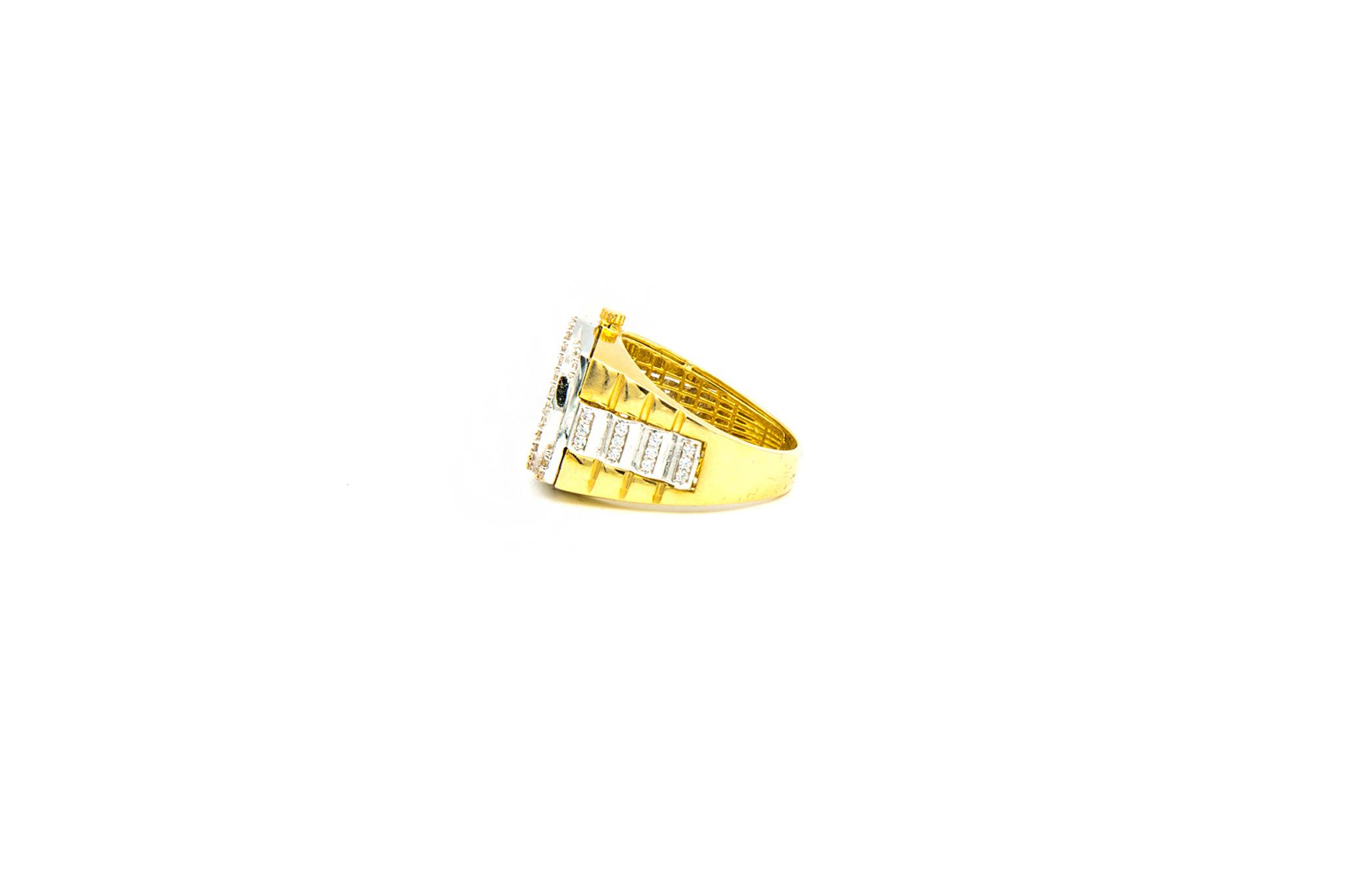 Ring horloge bezet met zirkonia's, bicolor-3