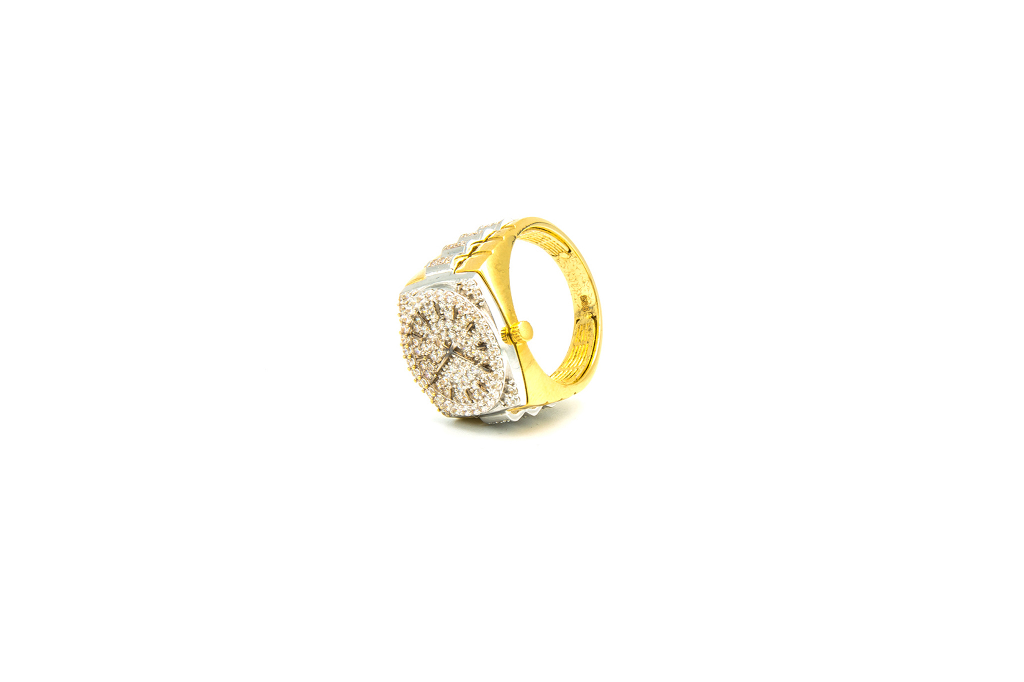 Ring horloge bezet met zirkonia's, bicolor-5