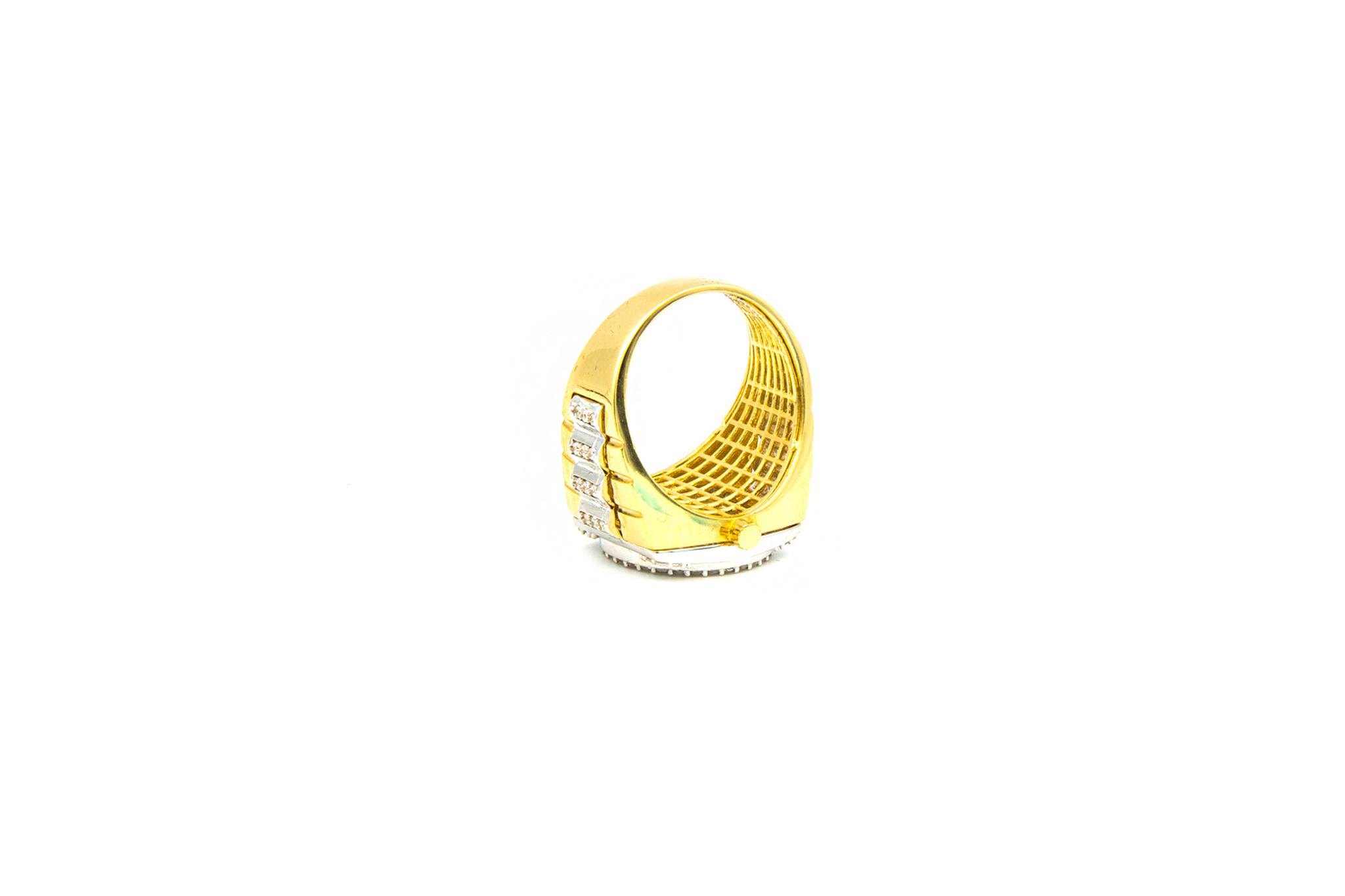 Ring horloge bezet met zirkonia's, bicolor-6