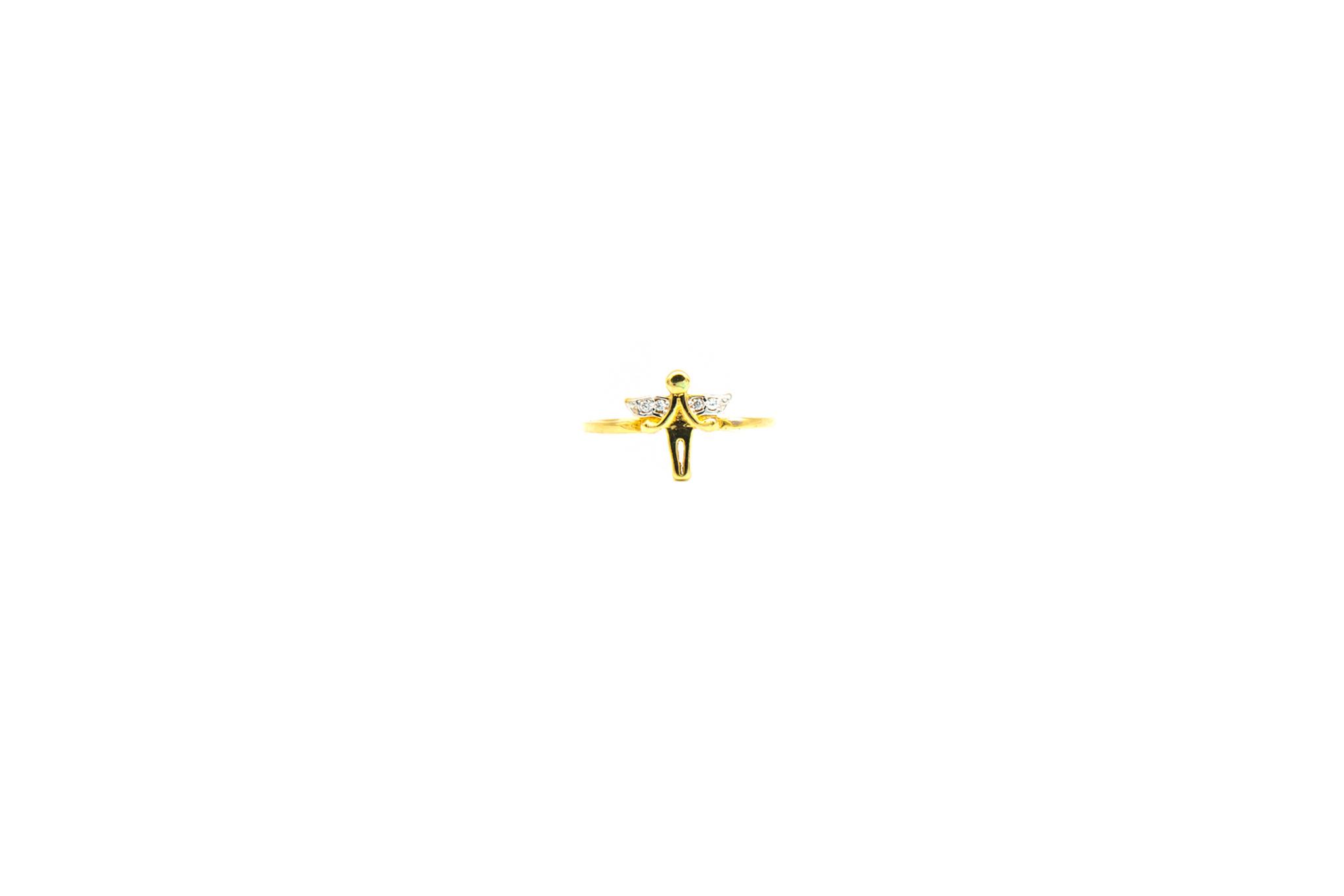 Ring engel bicolor bezet met zirkonia's-1