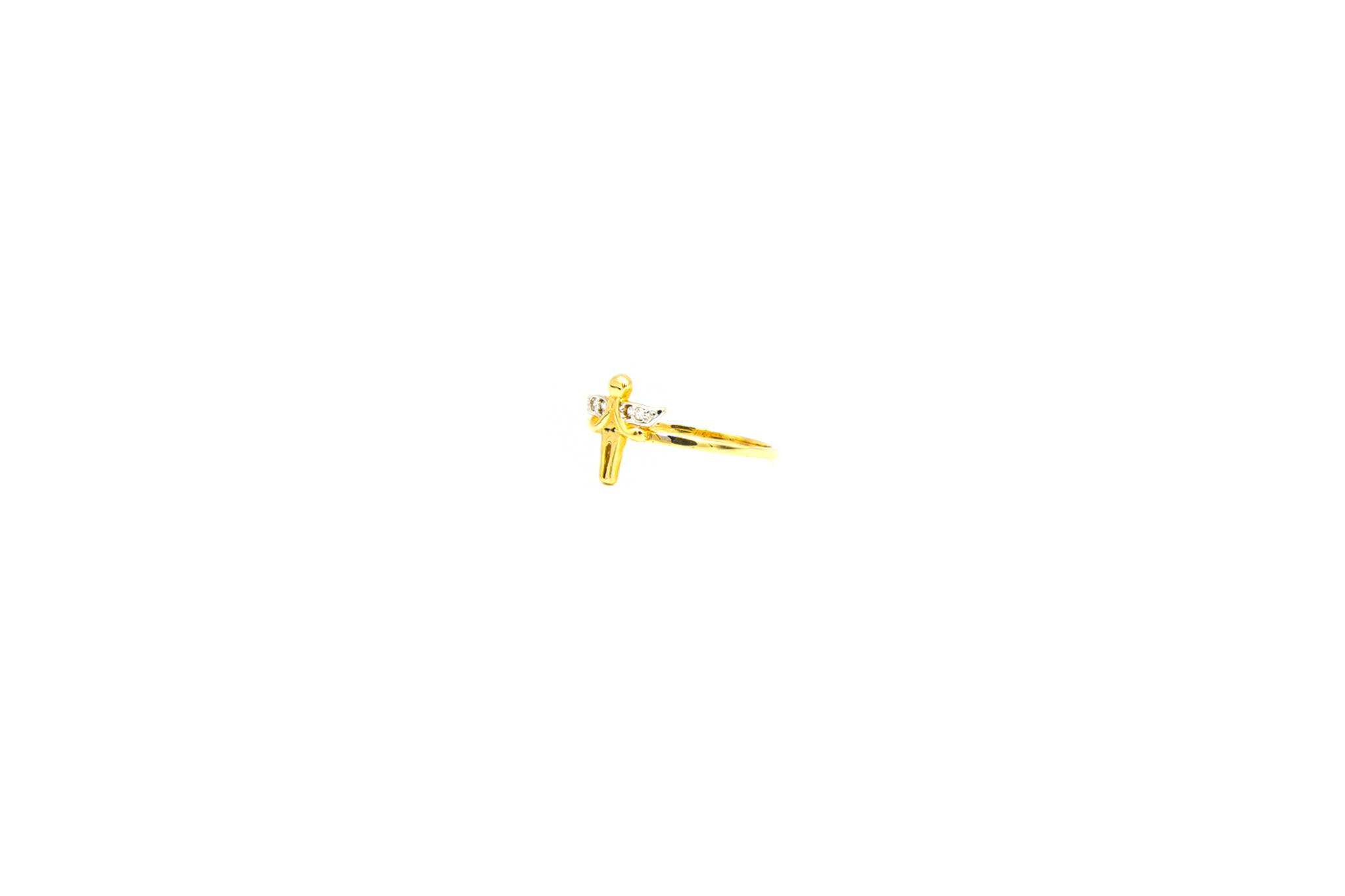 Ring engel bicolor bezet met zirkonia's-2