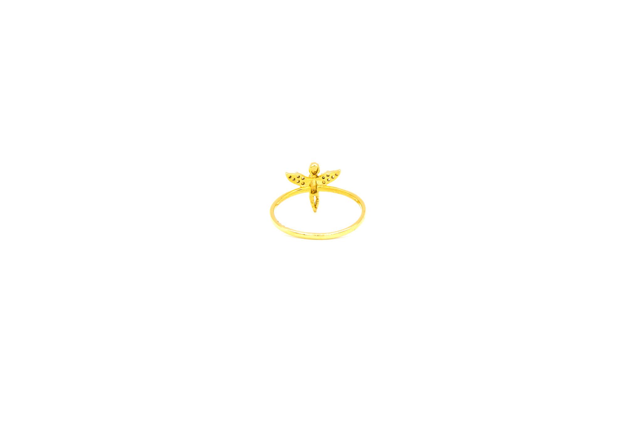 Ring engel bezet met zirkonia op de vleugels-4