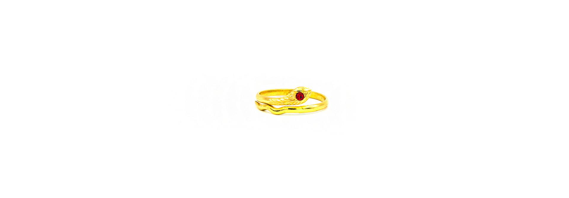 Ring met slang en rode zirkonia