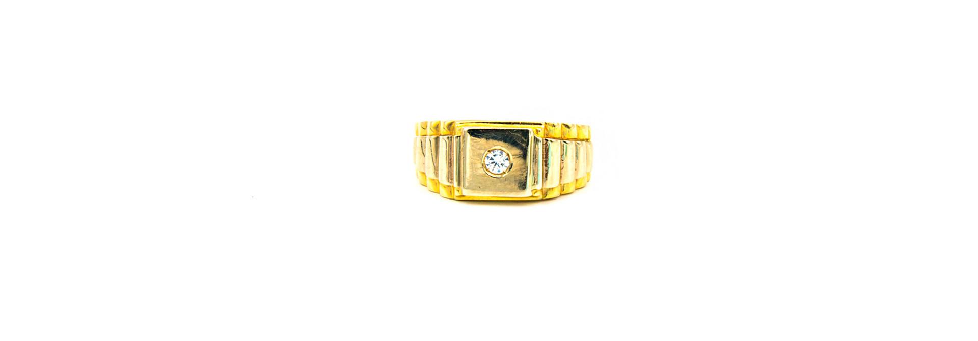 Ring zegel Rolexschakel bezet met zirkonia, bicolor
