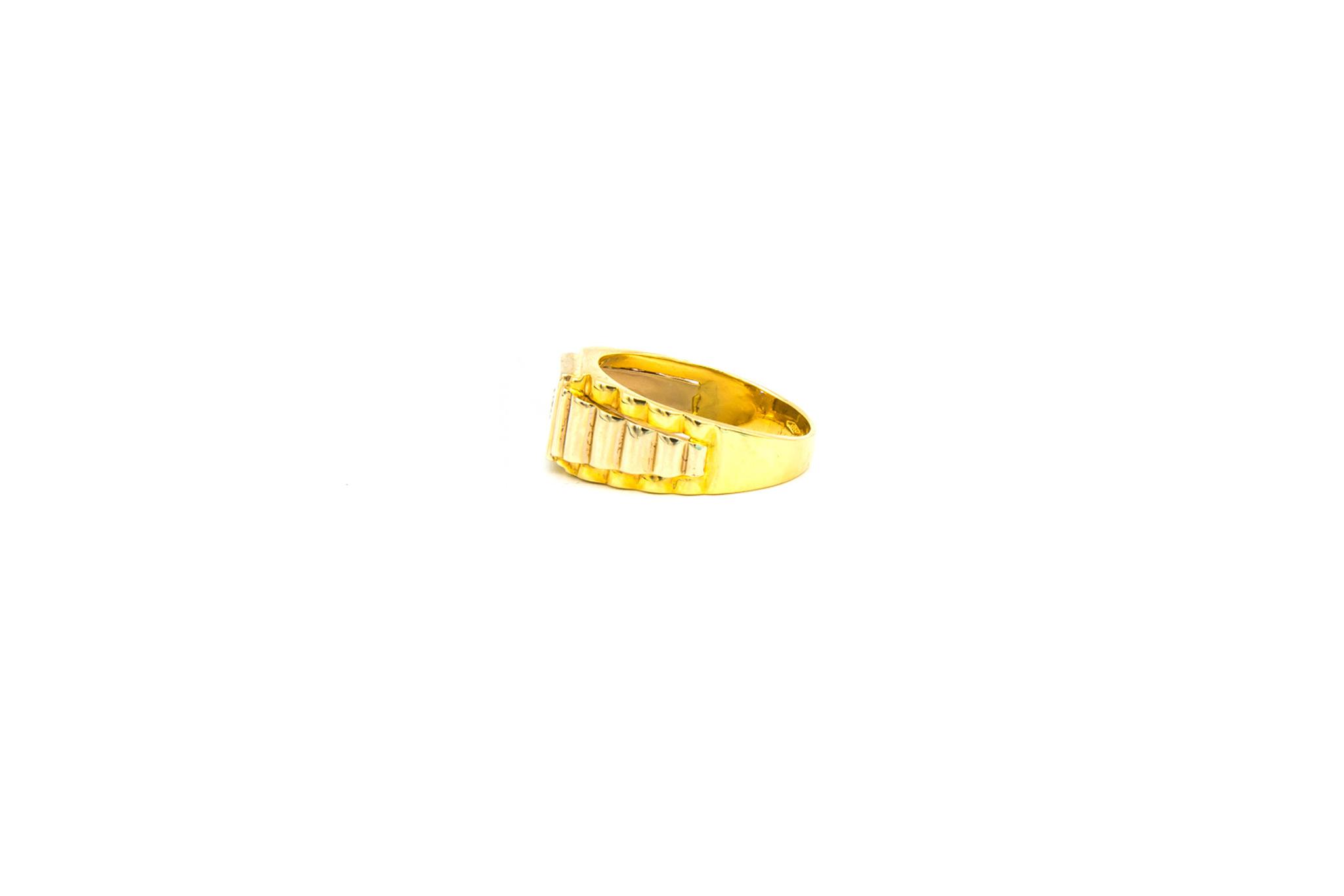 Ring zegel Rolexschakel bezet met zirkonia, bicolor-3