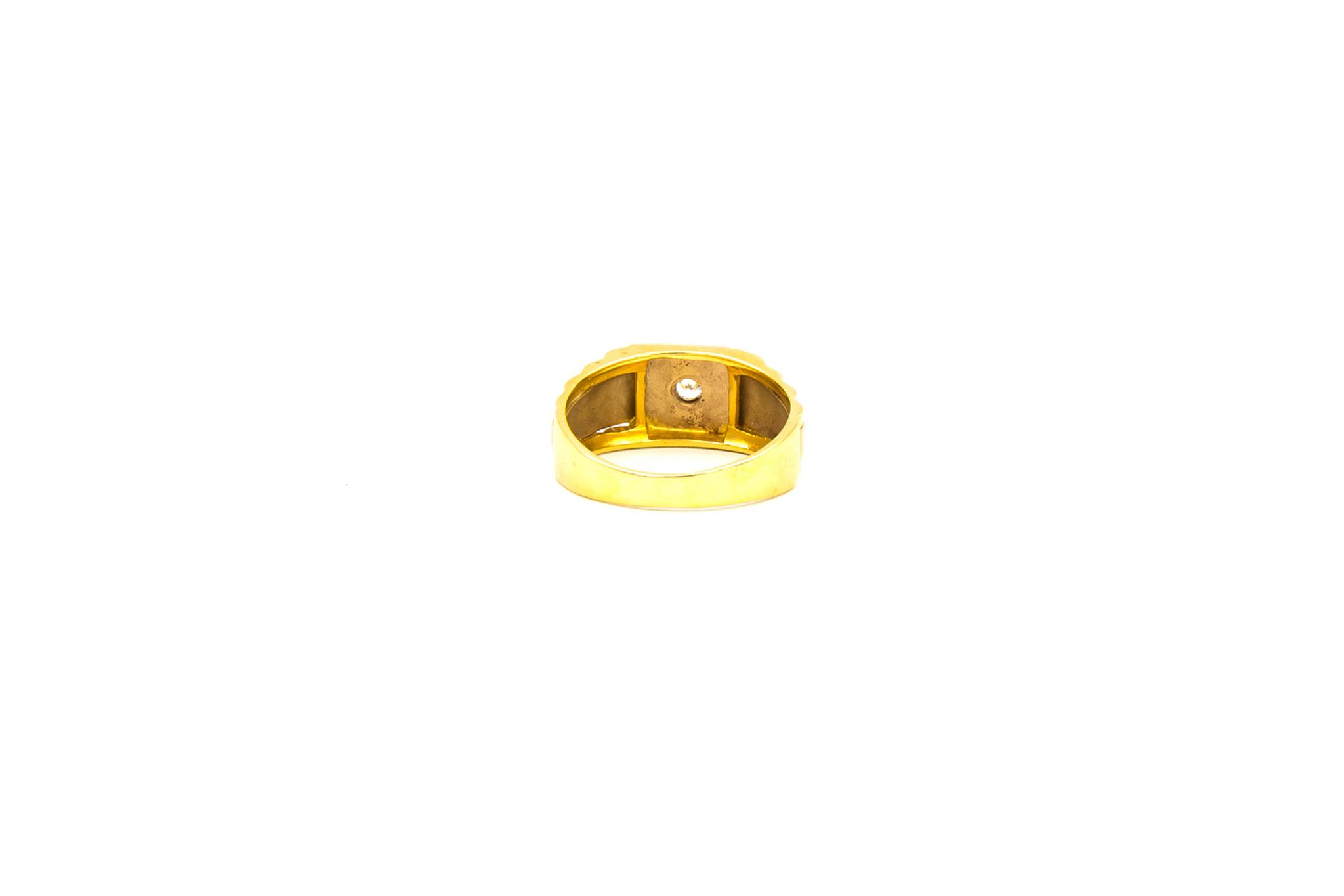 Ring zegel Rolexschakel bezet met zirkonia, bicolor-4
