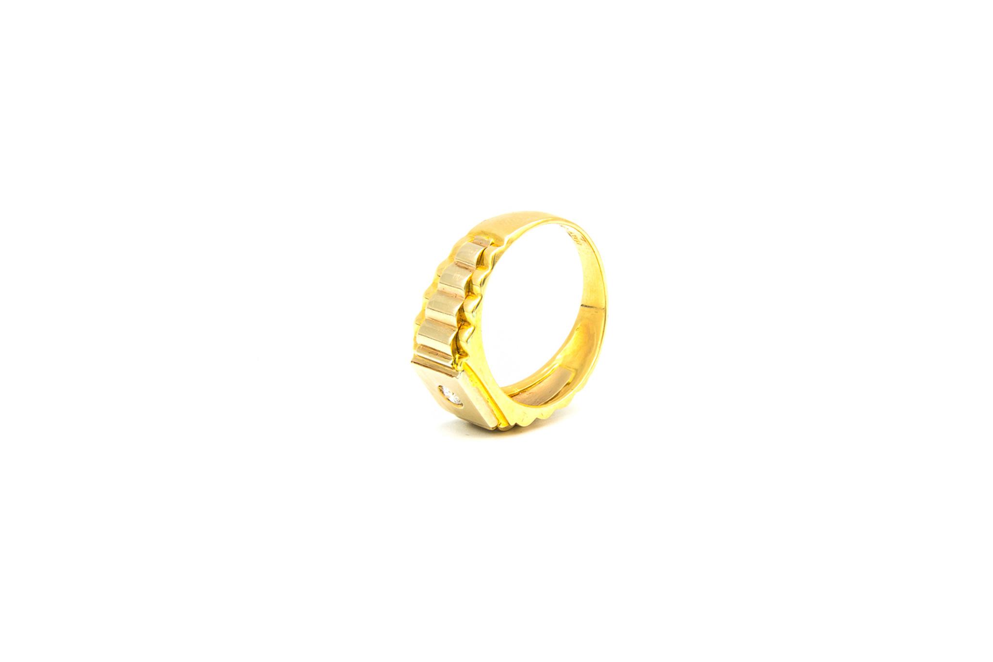 Ring zegel Rolexschakel bezet met zirkonia, bicolor-5