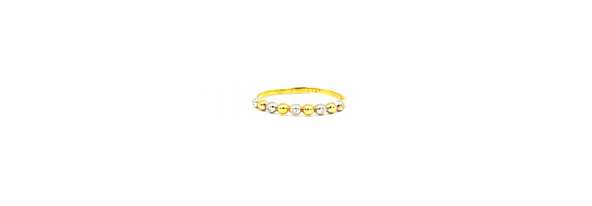 Ring aanschuif met bolletjes bezet met zirkonia's, bicolor