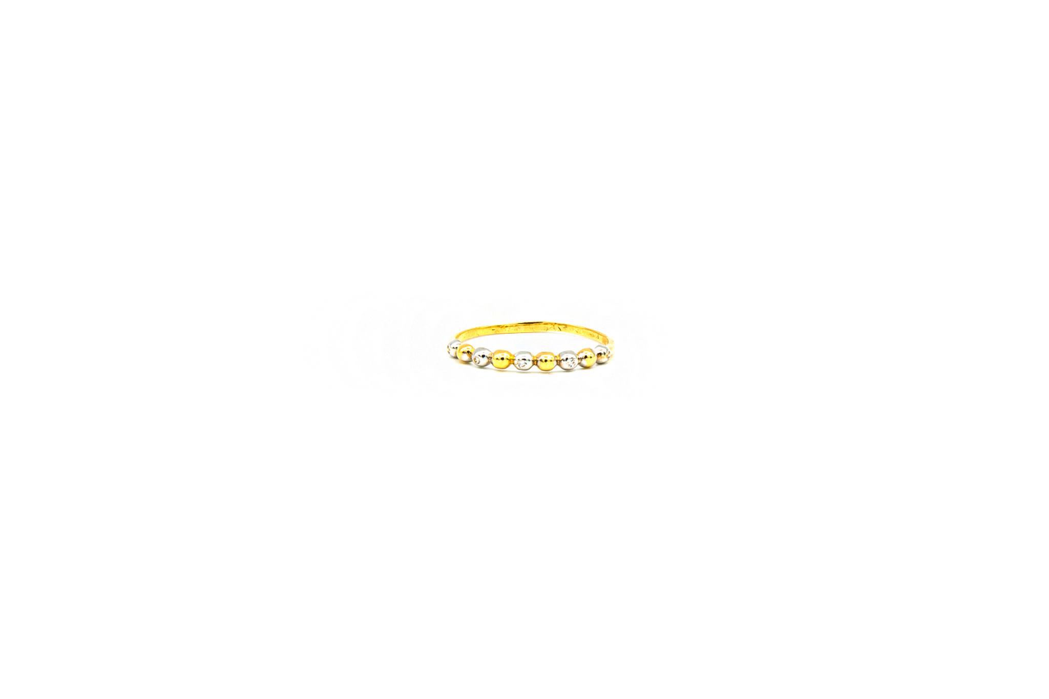 Ring aanschuif met bolletjes bezet met zirkonia's, bicolor-1