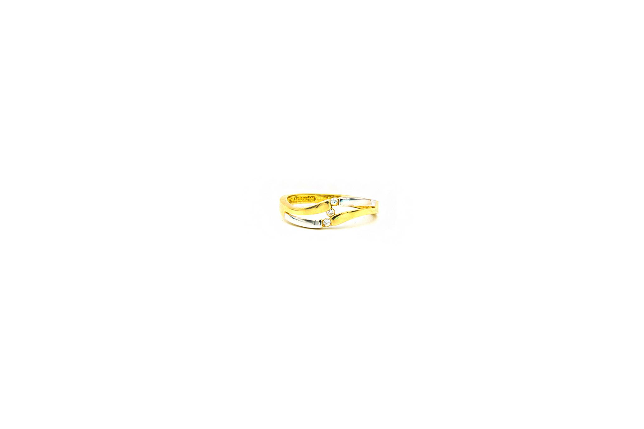 Ring slag bezet met 3 zirkonia's, bicolor-1