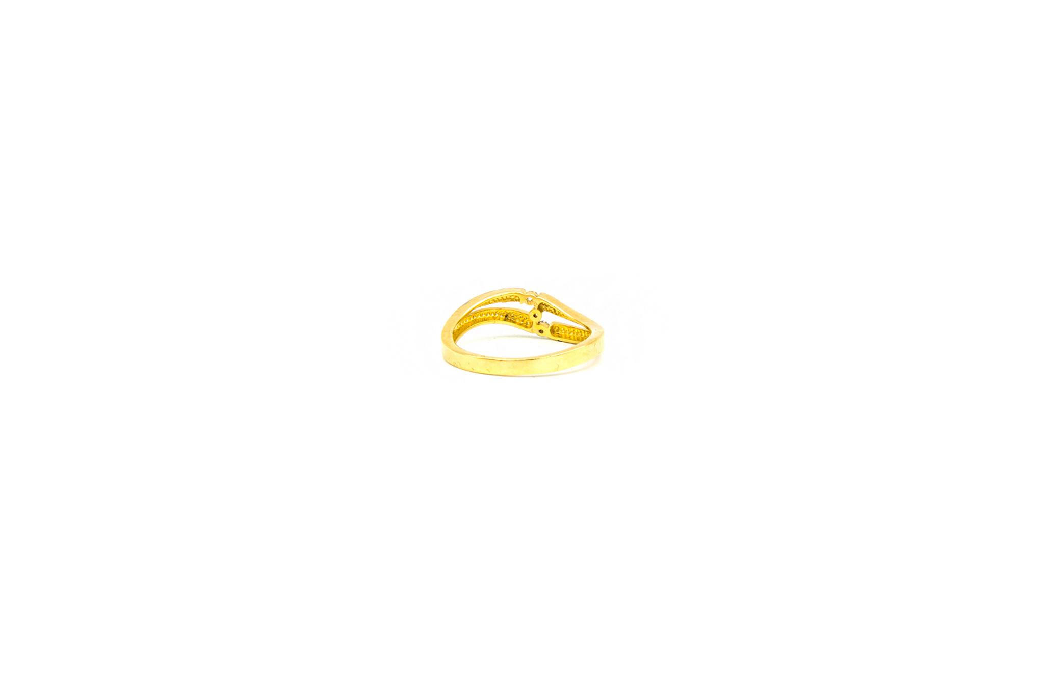 Ring slag bezet met 3 zirkonia's, bicolor-4
