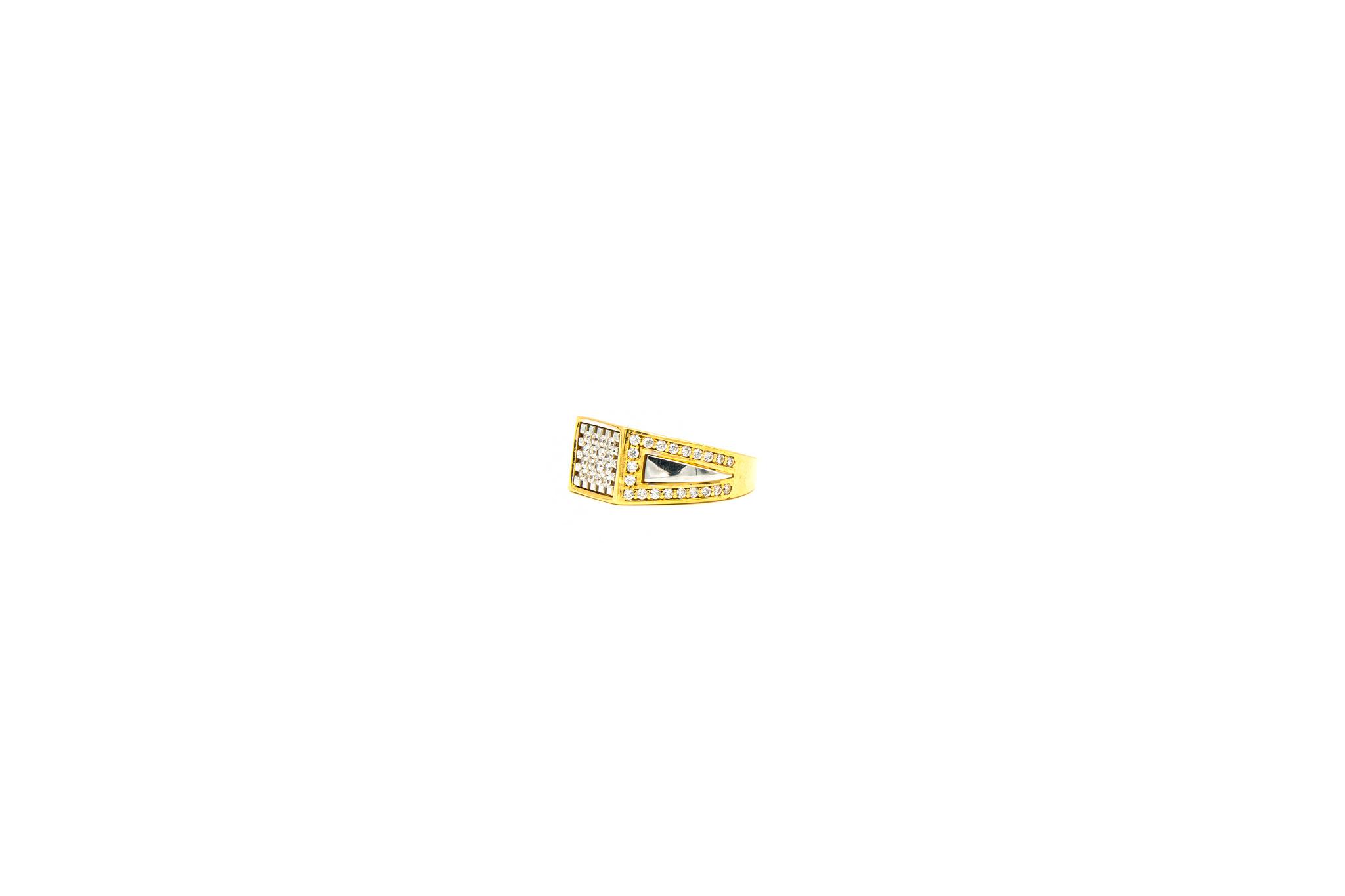 Ring zegel bicolor bezet met zirkonia's-6
