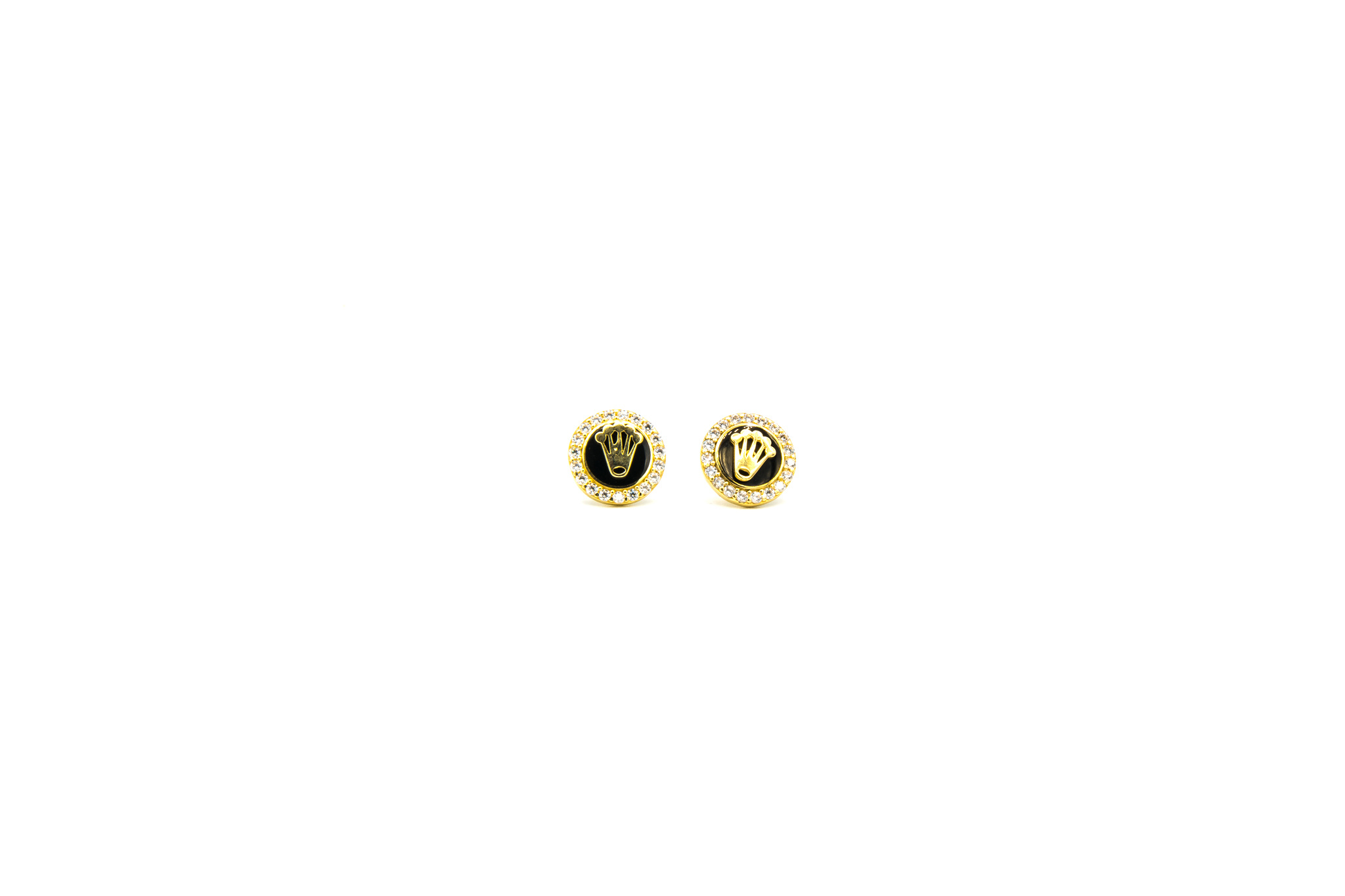 Oorbellen kroon bezet met zirkonia's en zwarte emaille-1