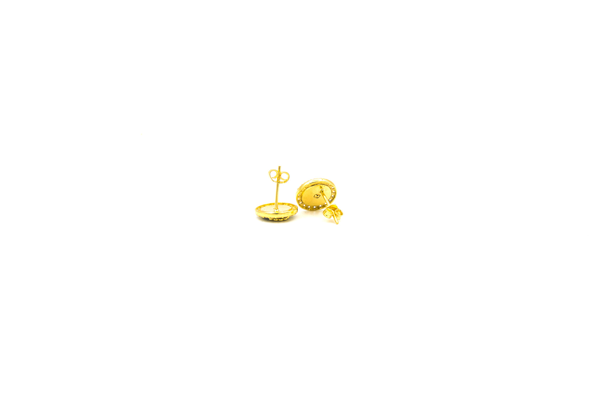 Oorbellen kroon bezet met zirkonia's en zwarte emaille-2