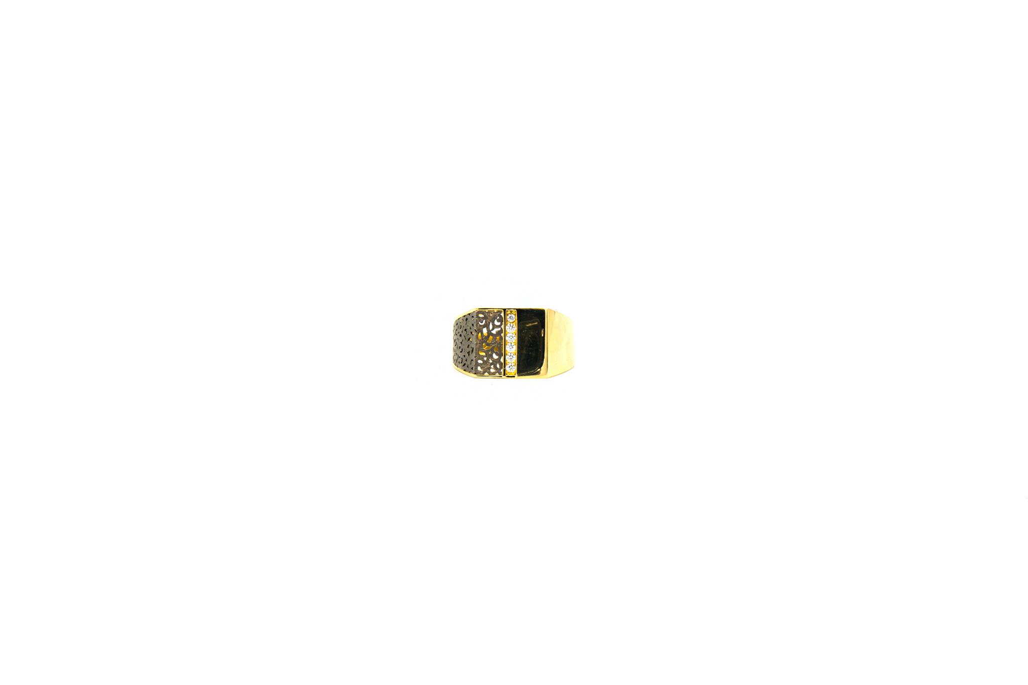 Ring zegel bezet met zirkonia en zwart gerhodineerde ajour-2