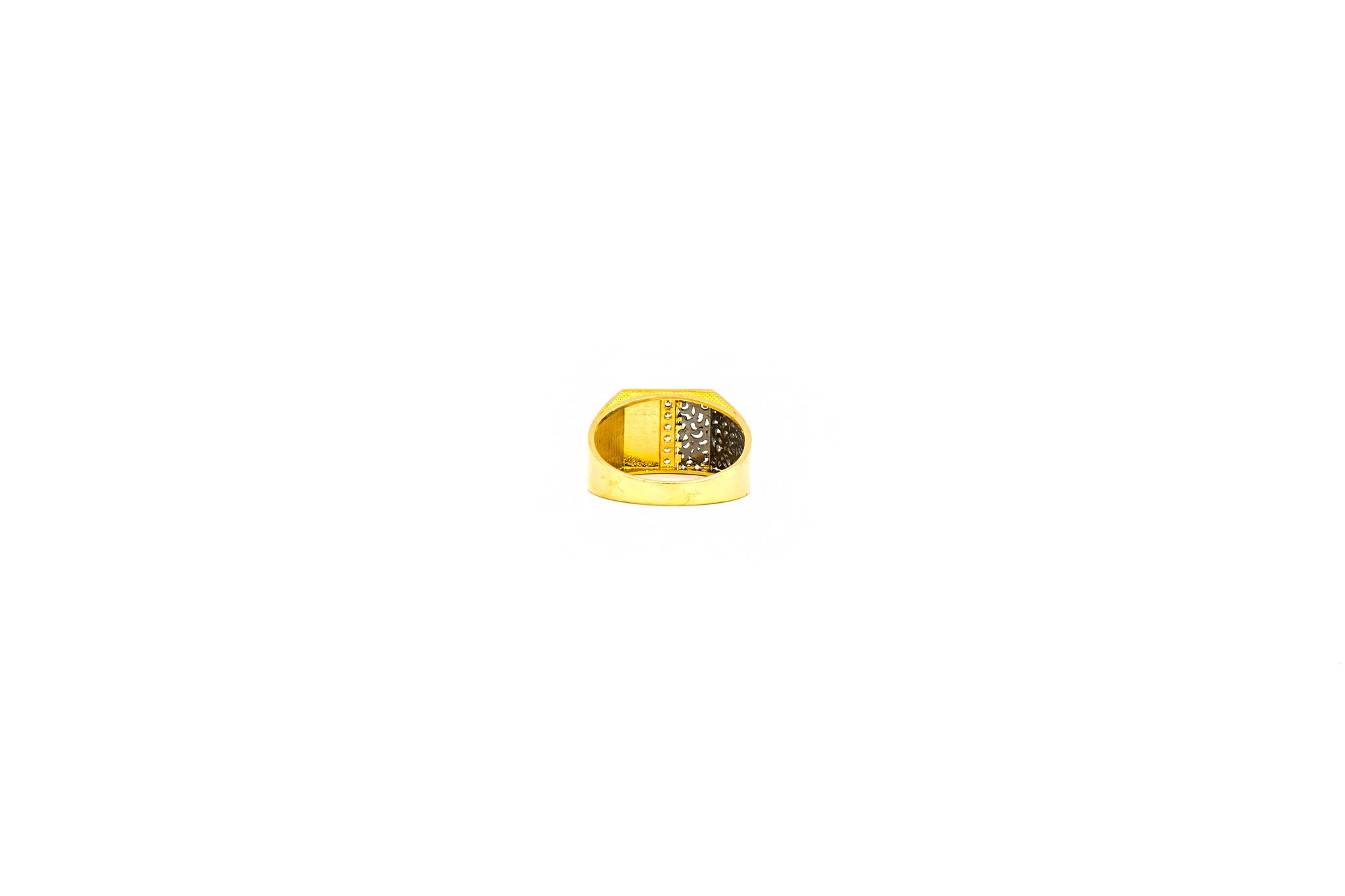 Ring zegel bezet met zirkonia en zwart gerhodineerde ajour-5