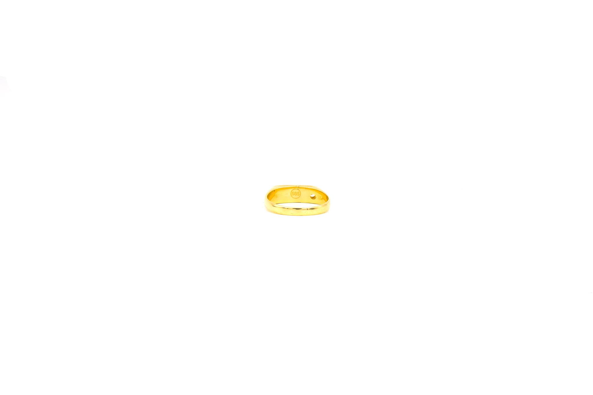 Ring zegel bezet met zirkonia en gegraveerde bladeren-4
