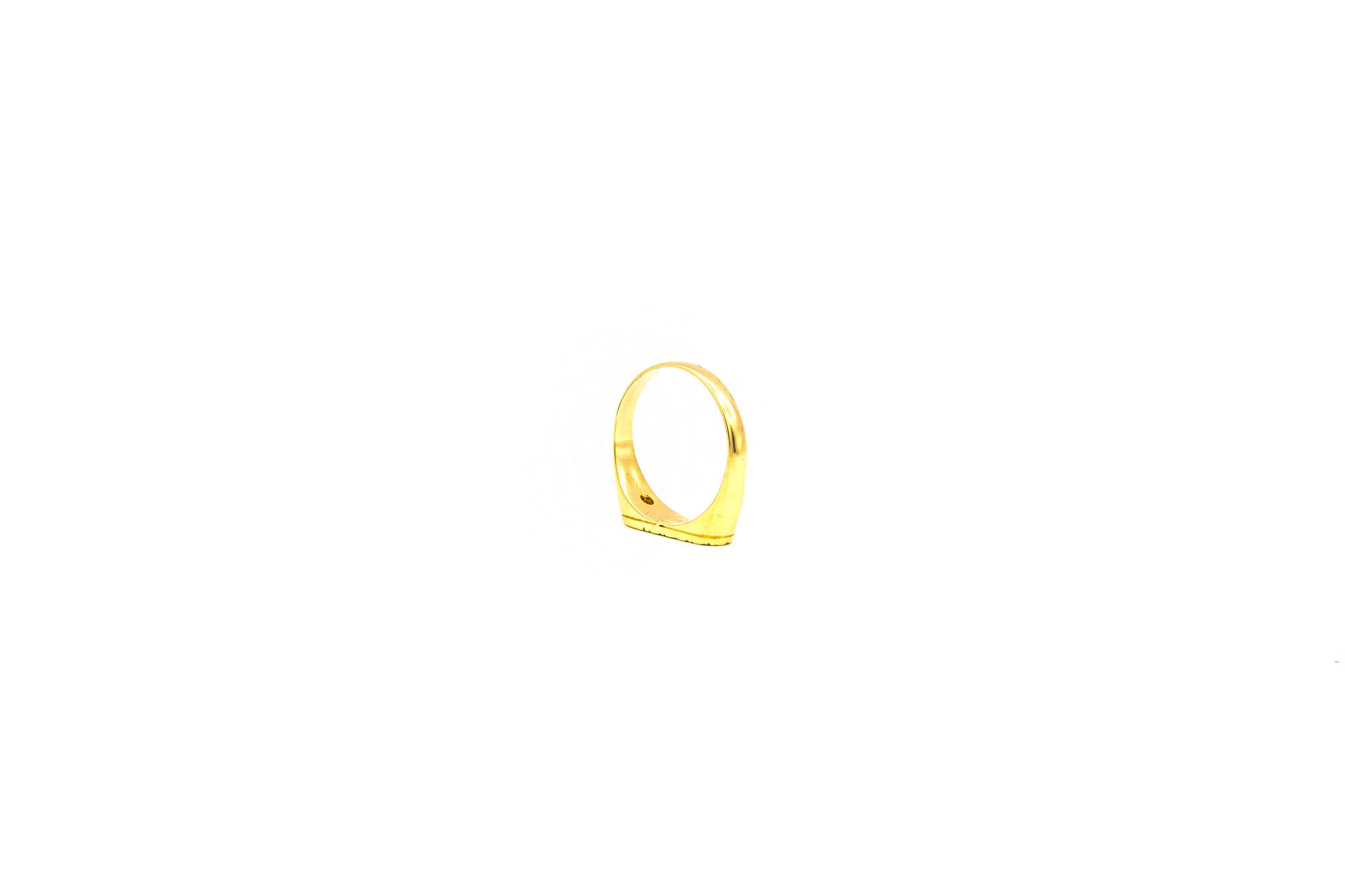 Ring zegel bezet met zirkonia en gegraveerde bladeren-5
