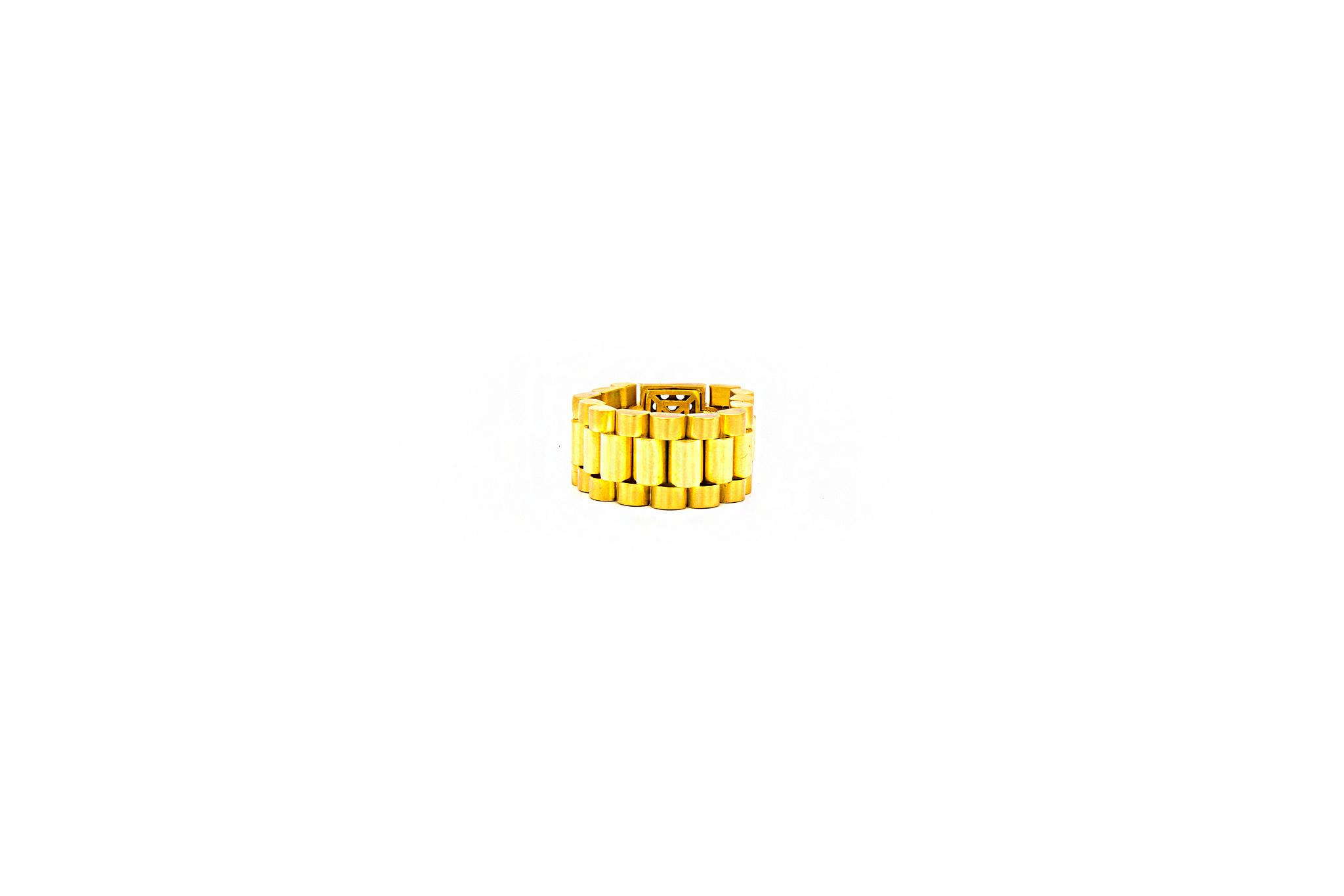 Ring flexibele rolexschakel bezet met zirkonia's-2