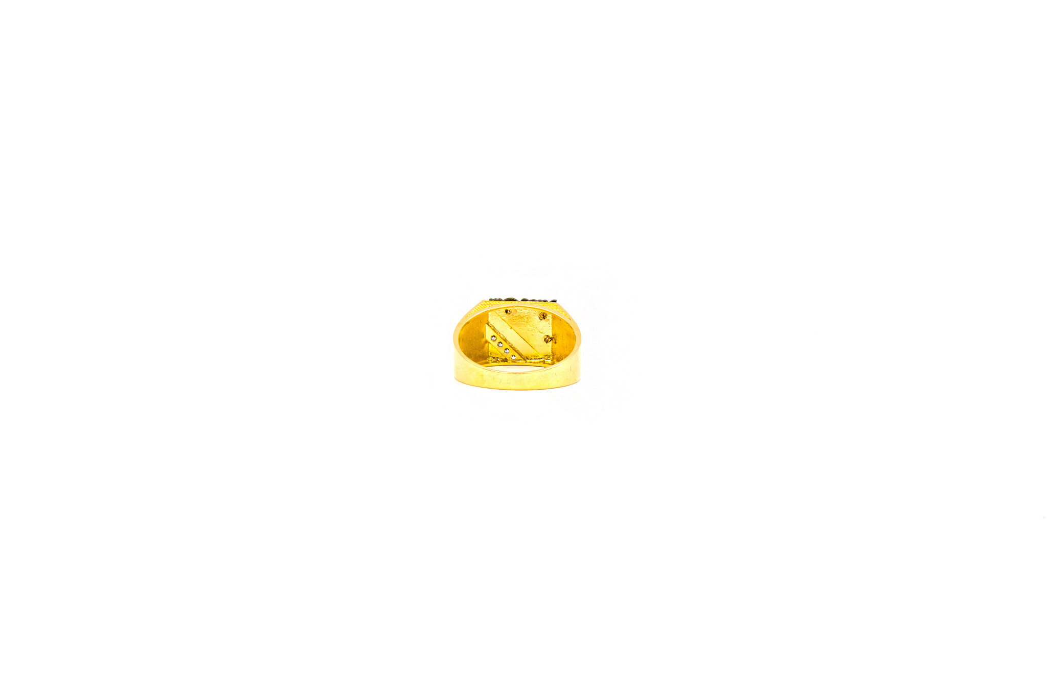 Ring zegel bezet met zirkonia en zwart gerhodineerde ajour-4