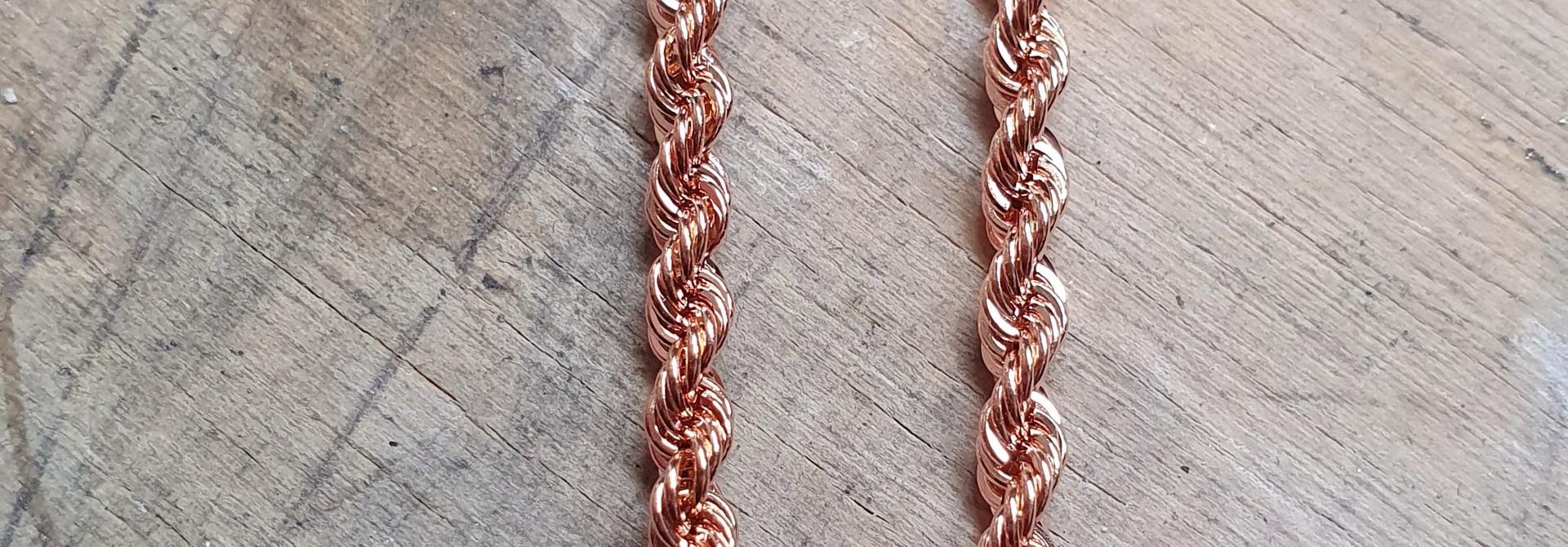 Rope chain roségoud 18kt 2.5mm