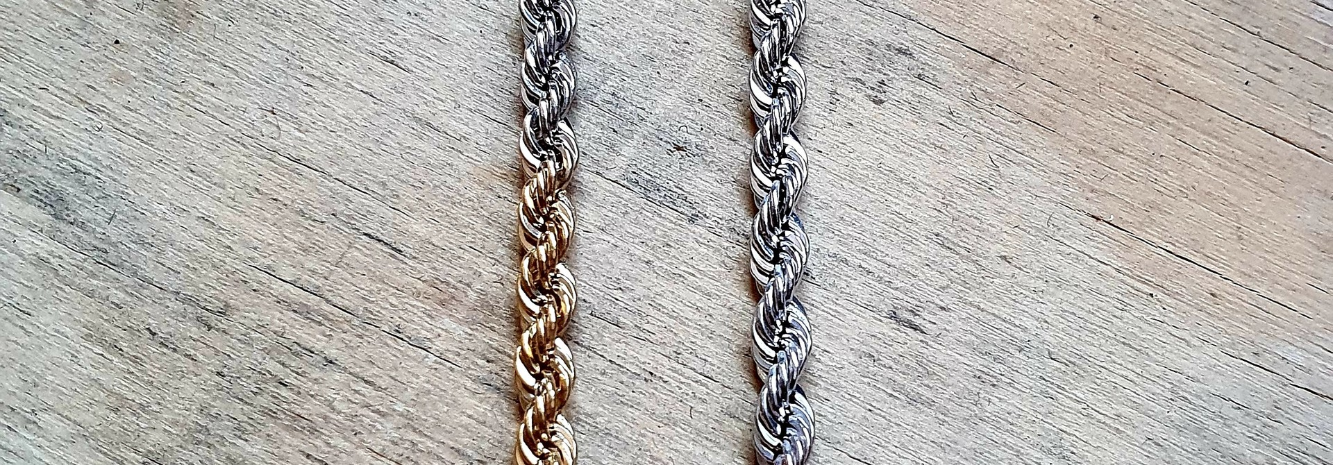 Rope chain tricolor 14 kt 4.5mm