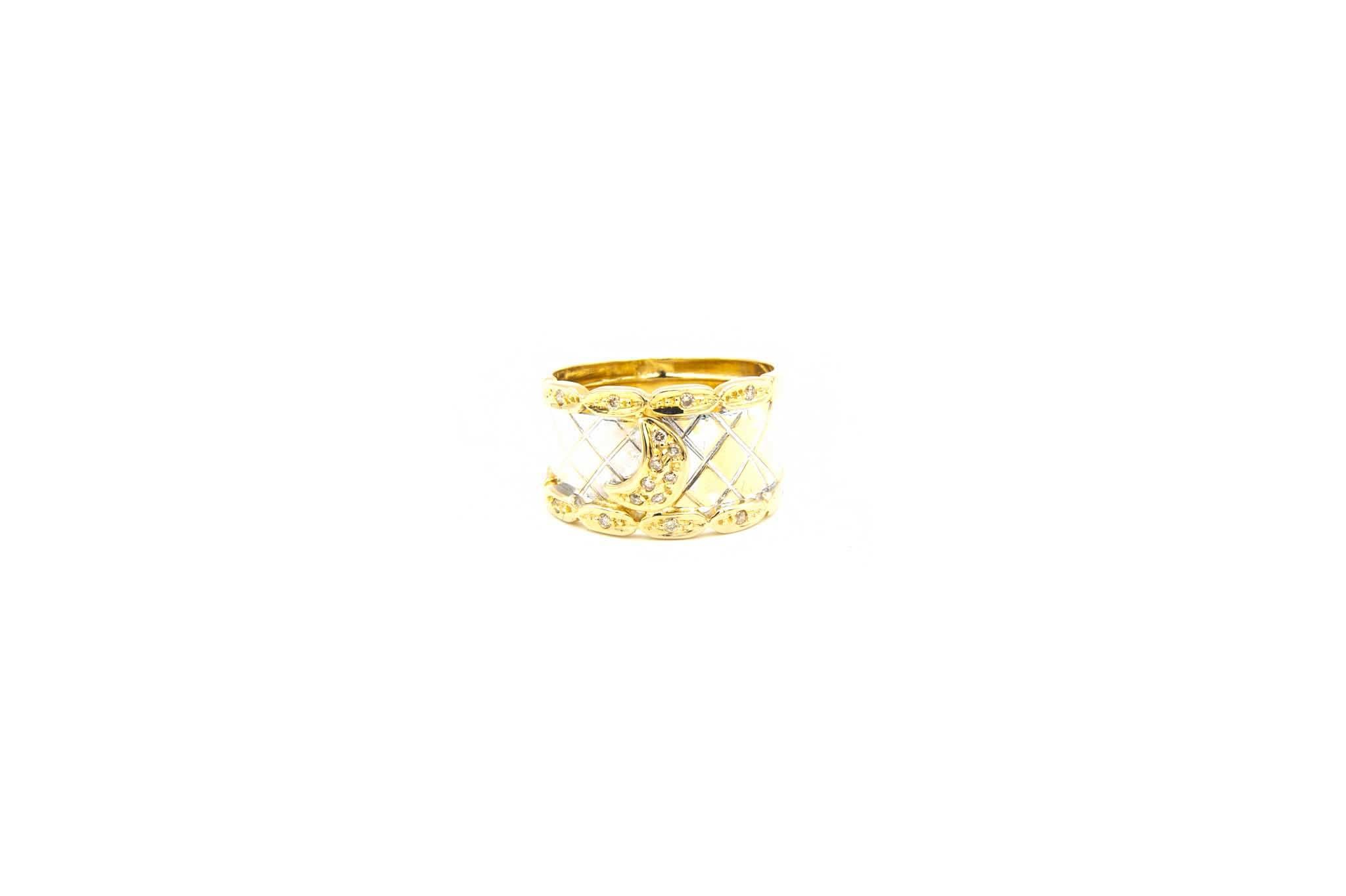 Ring bicolor maantje met diamant-2