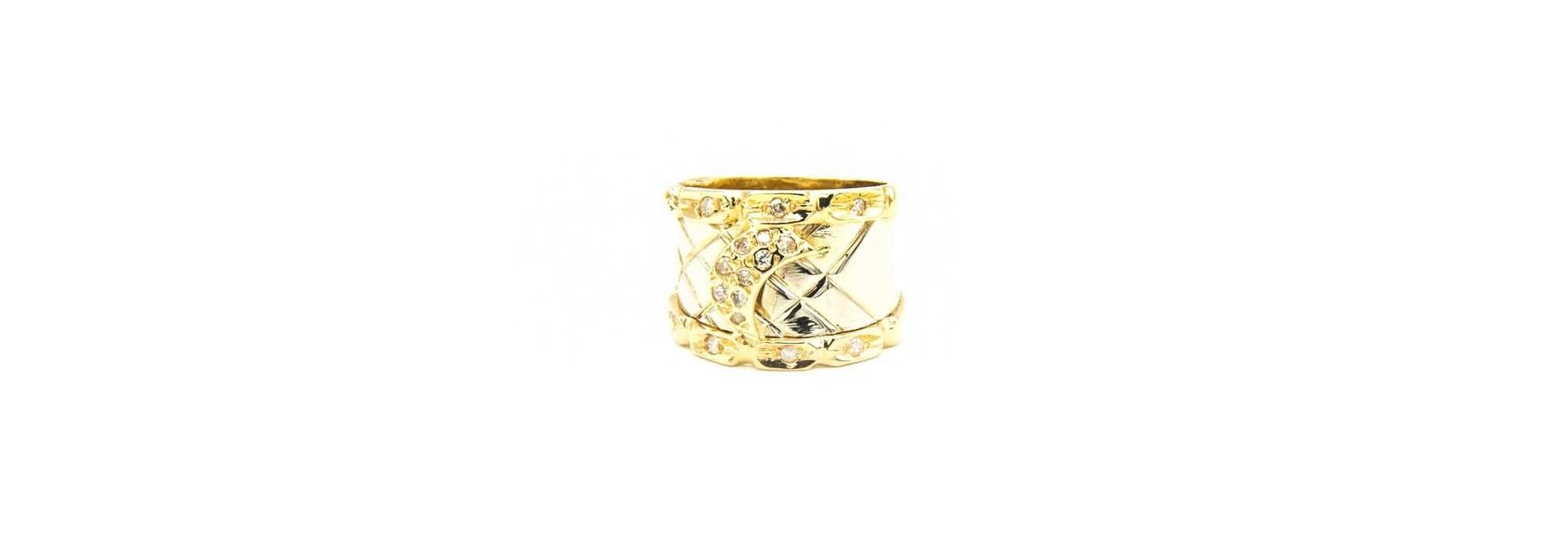Ring bicolor maantje met diamant