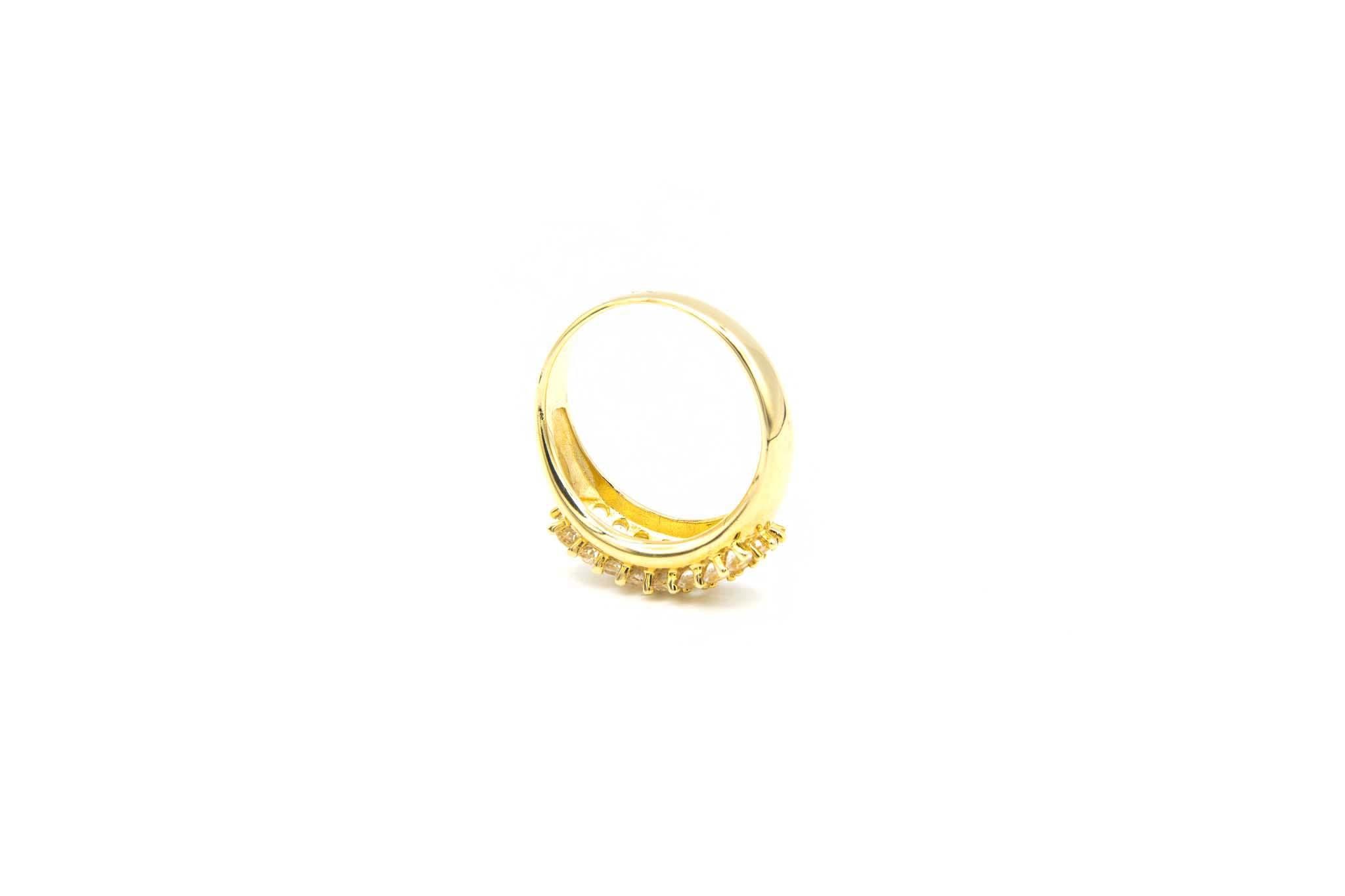 Ring ingezet met driedubbele rij zirkonia's-5