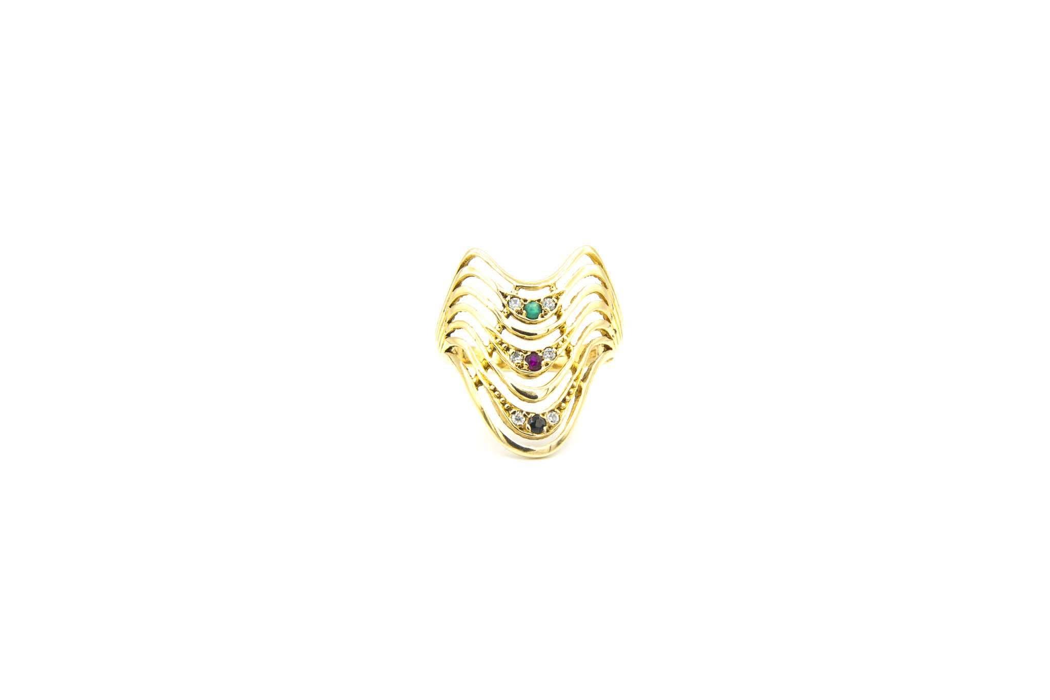 Ring golven met gekleurde zirkonia's-1
