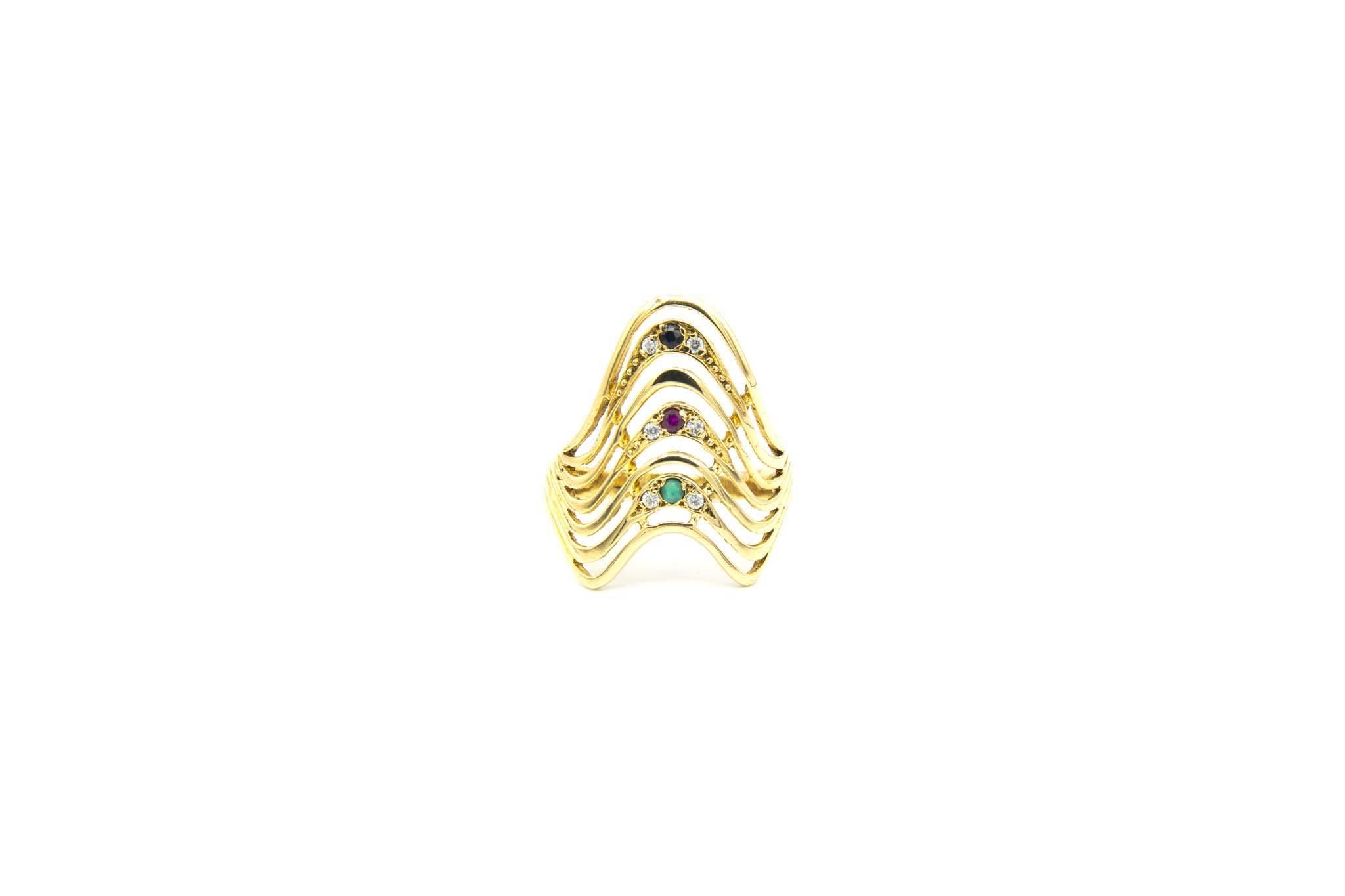 Ring golven met gekleurde zirkonia's-2