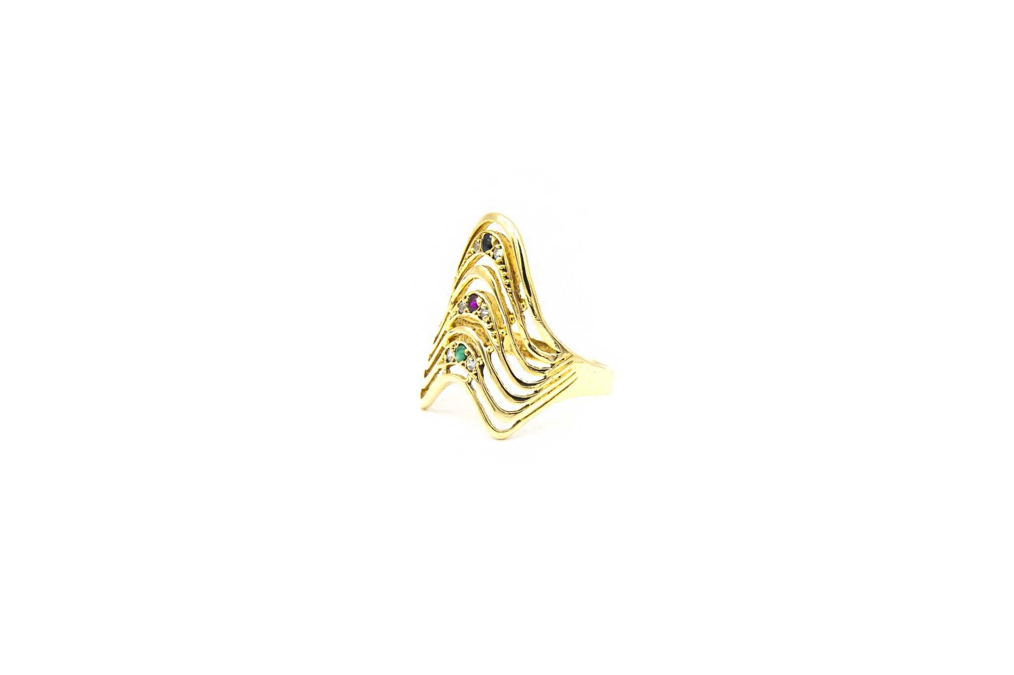 Ring golven met gekleurde zirkonia's-3
