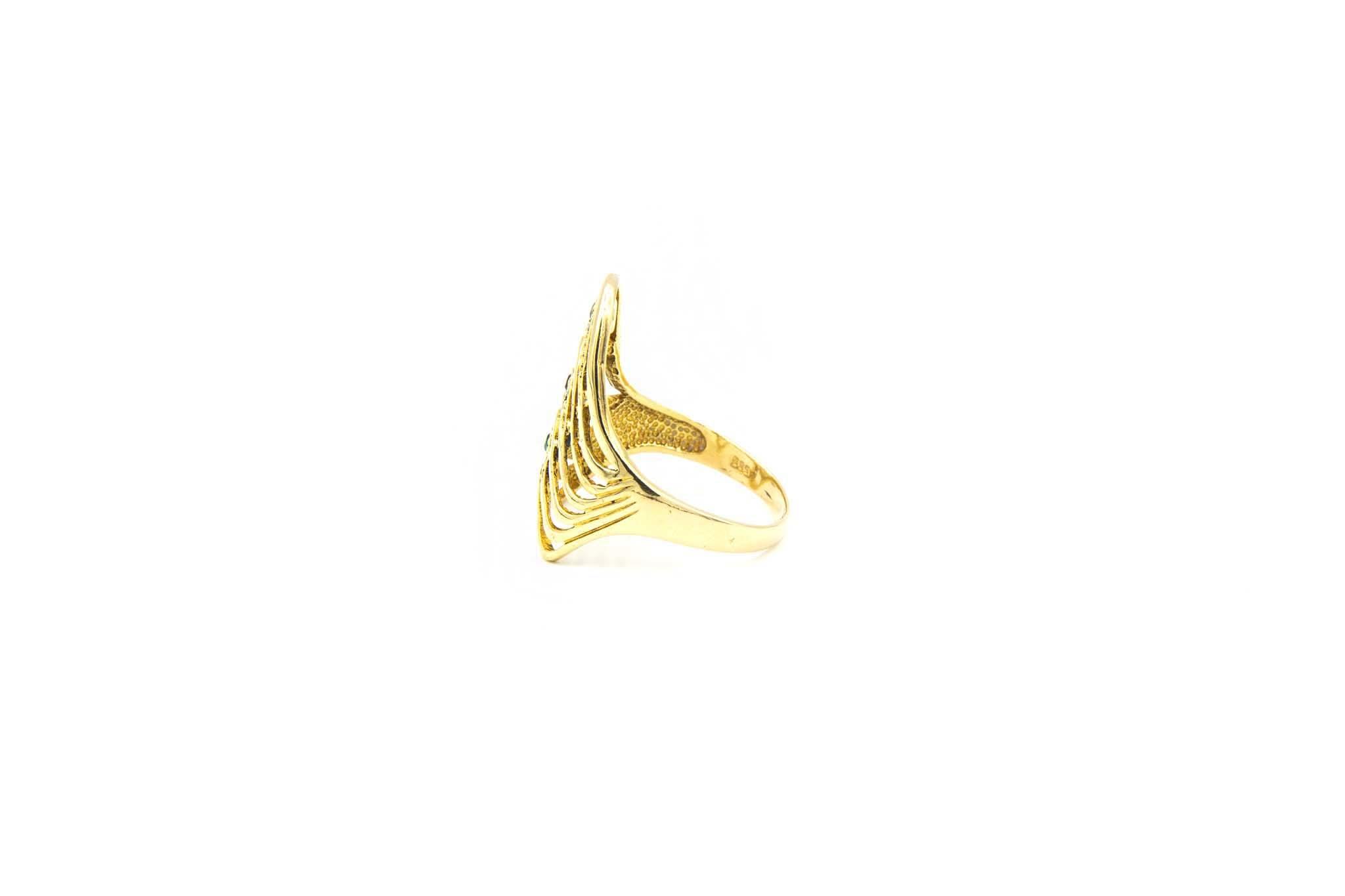 Ring golven met gekleurde zirkonia's-4