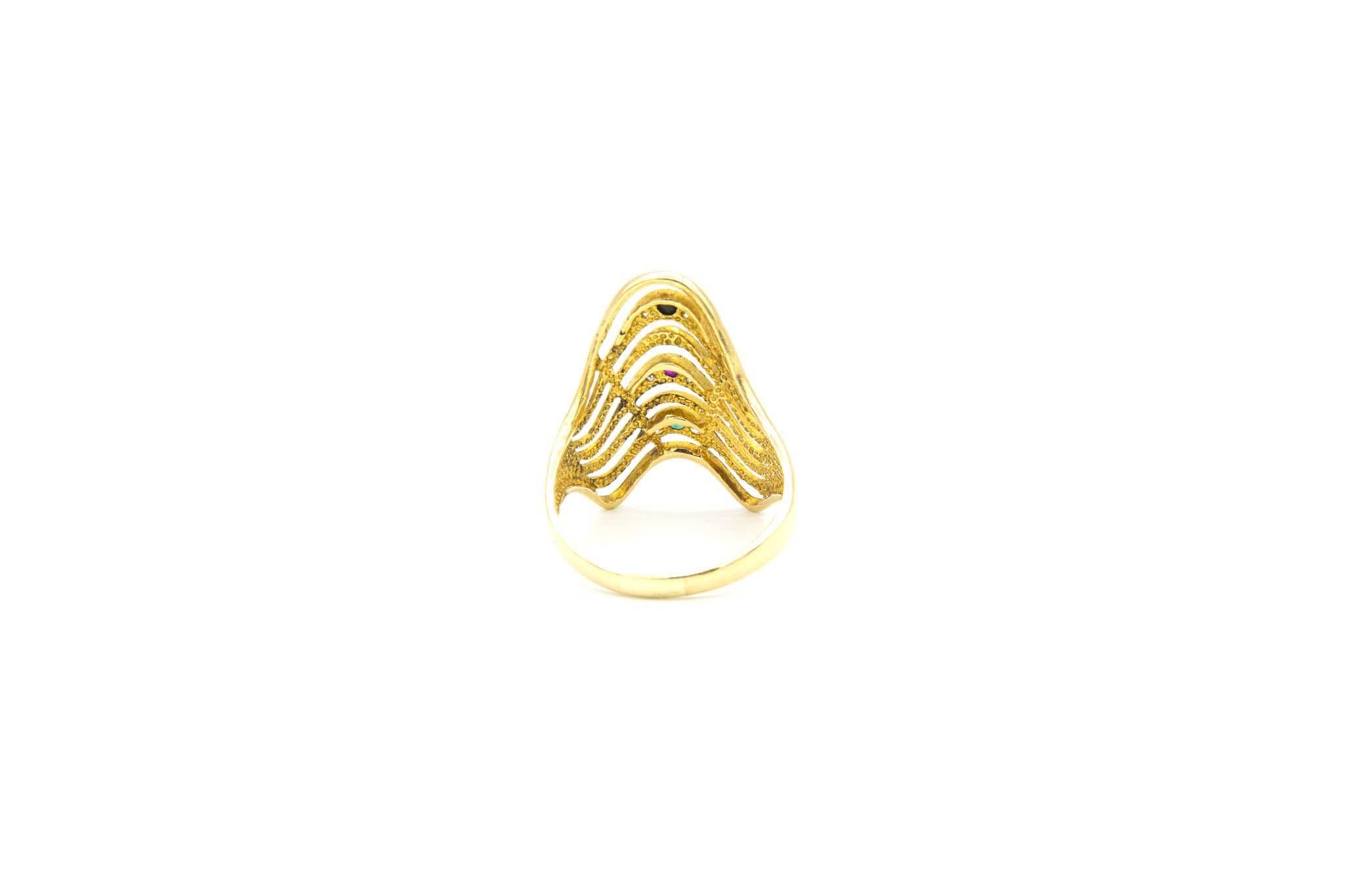 Ring golven met gekleurde zirkonia's-5