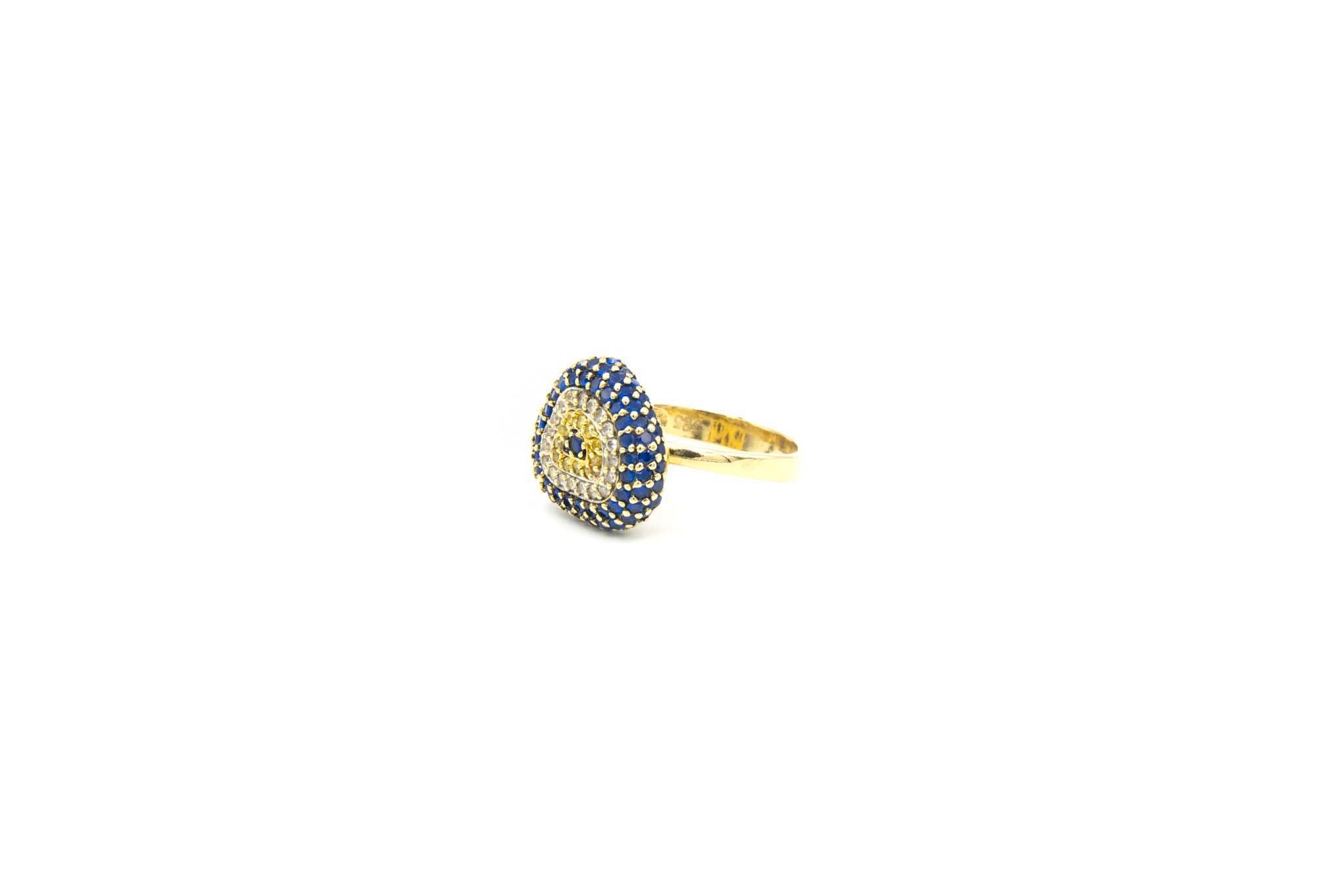 Ring met decoratie met drie kleuren zirkonia's-2