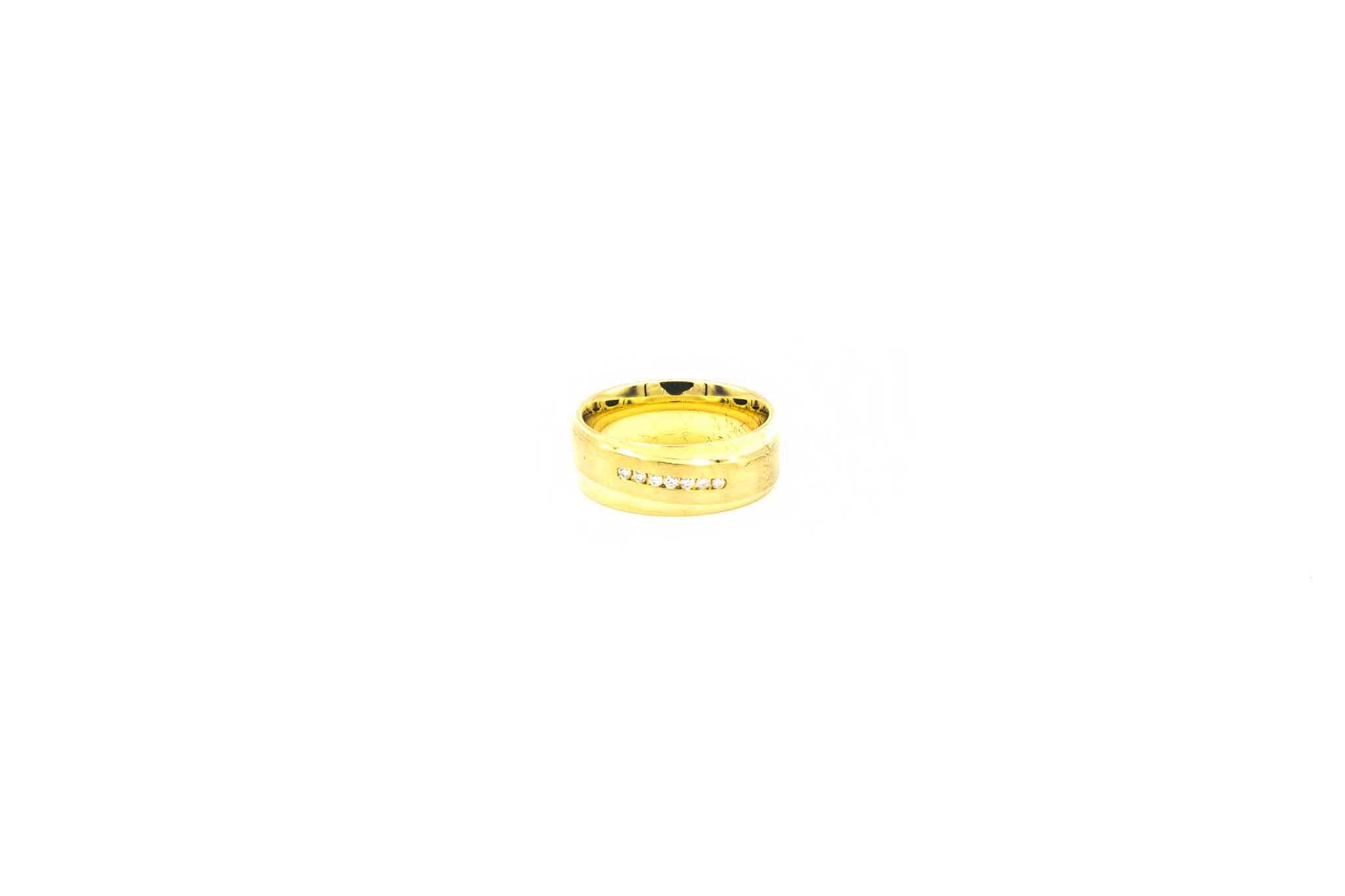 Ring glanzend met gematteerde band met diamantjes-1