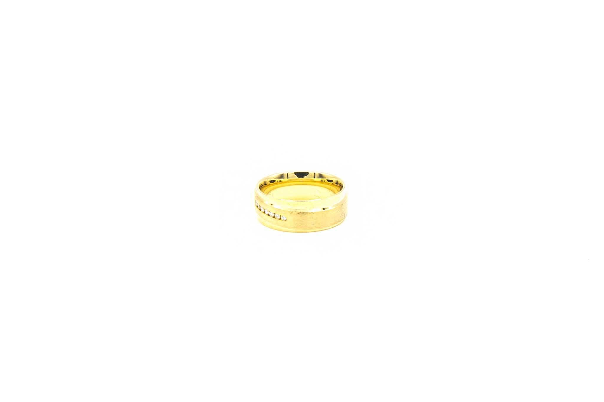 Ring glanzend met gematteerde band met diamantjes-2