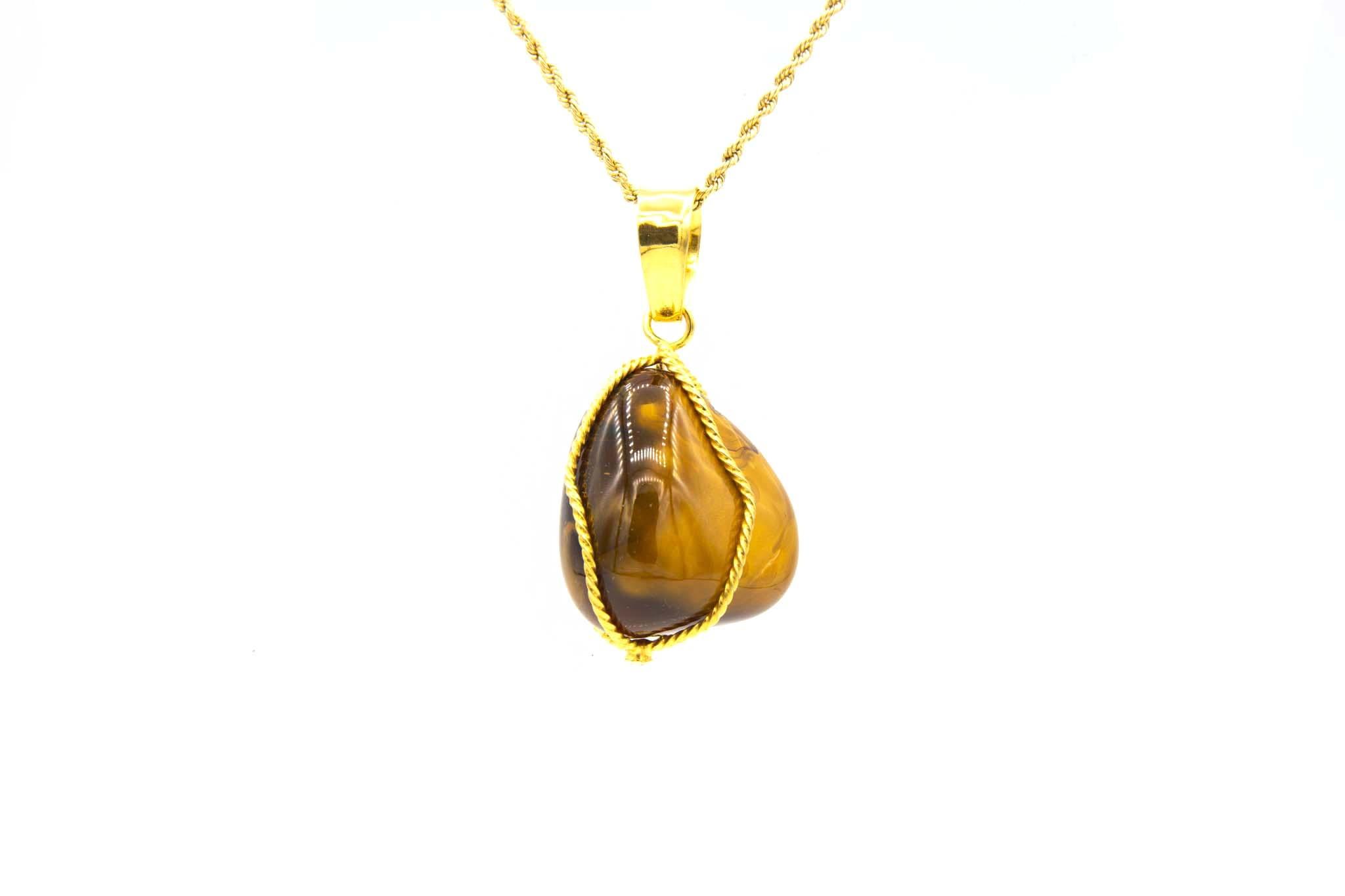 Hanger met bruine steen in gouddraad-2