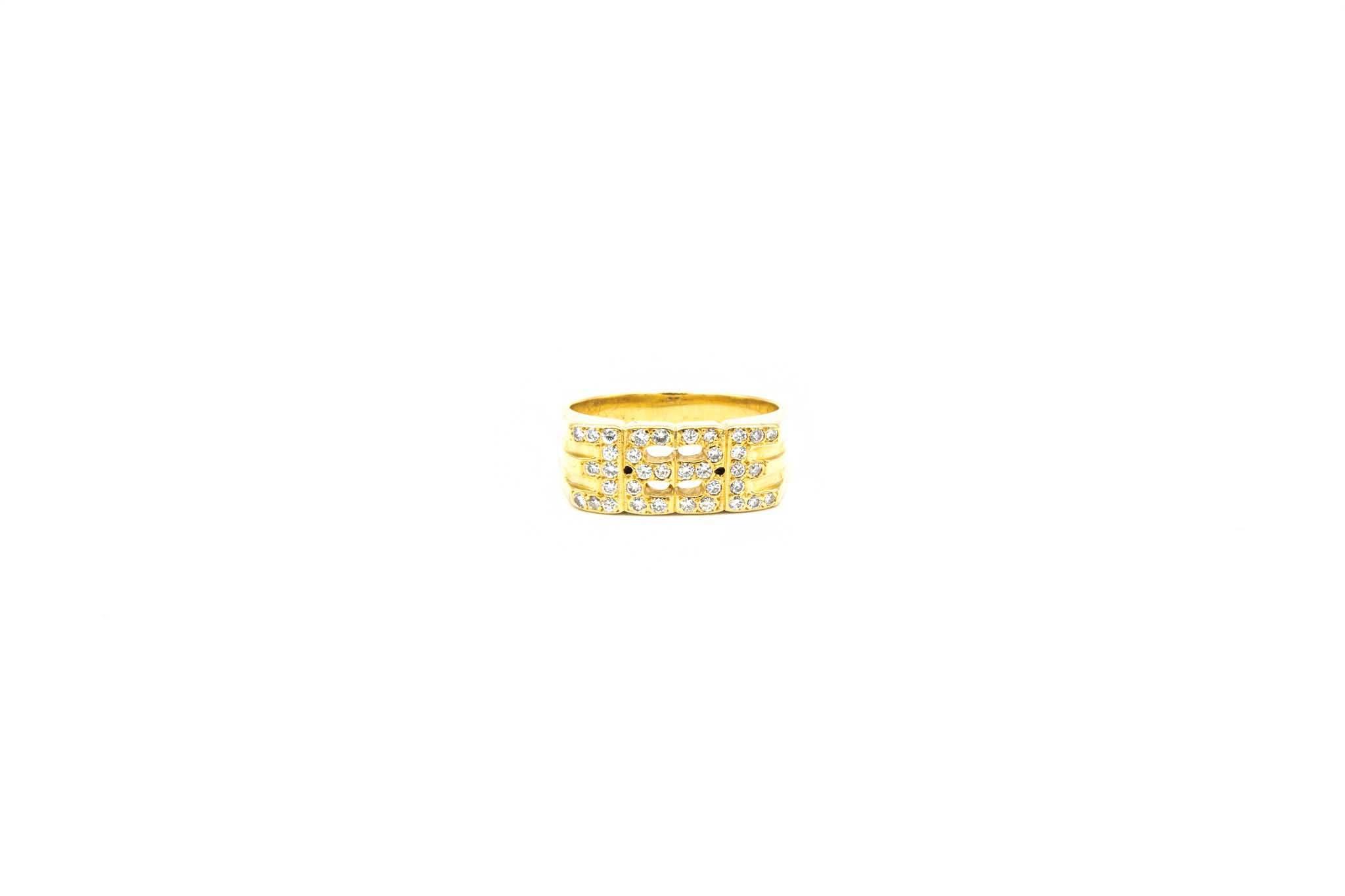 Ring fantasie opengewerkt met diamant-1