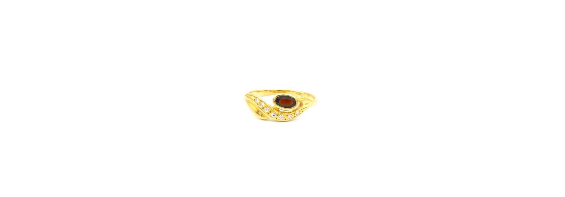 Ring met golf en witte en rode zirkonia's voor kind